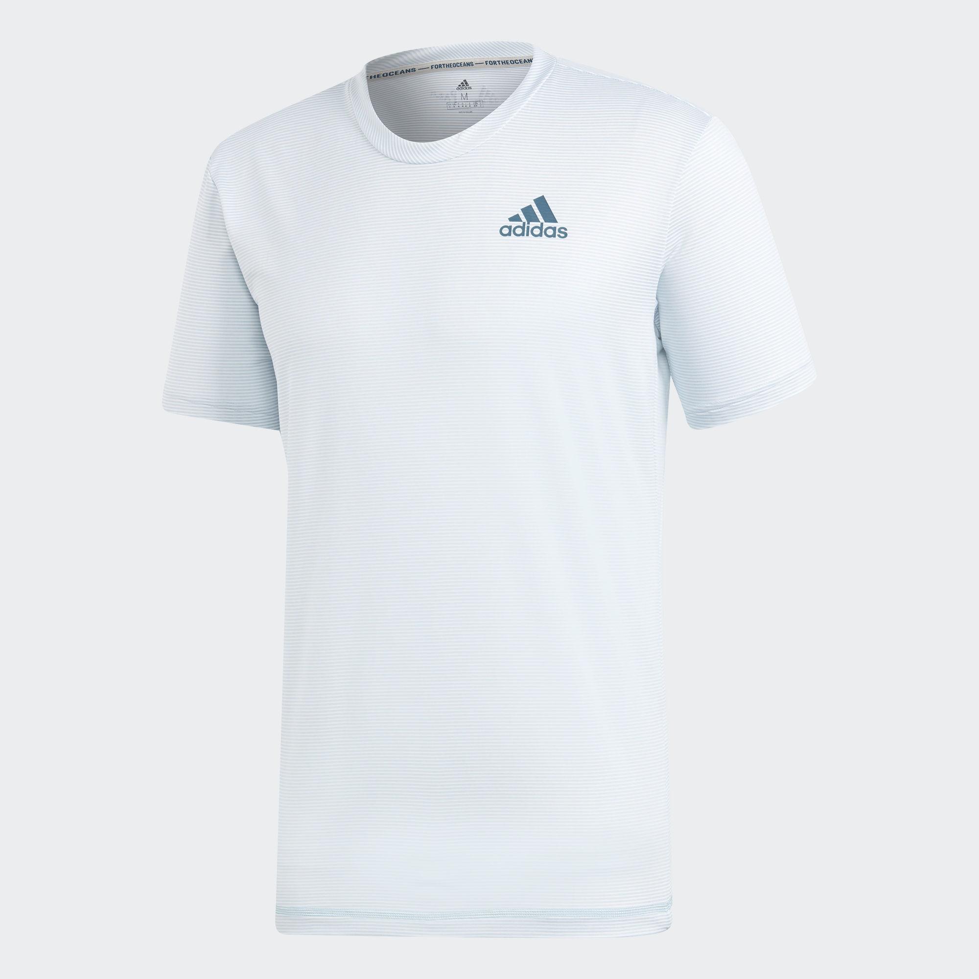 39842f3aba Adidas Mens Parley Striped Tee - White