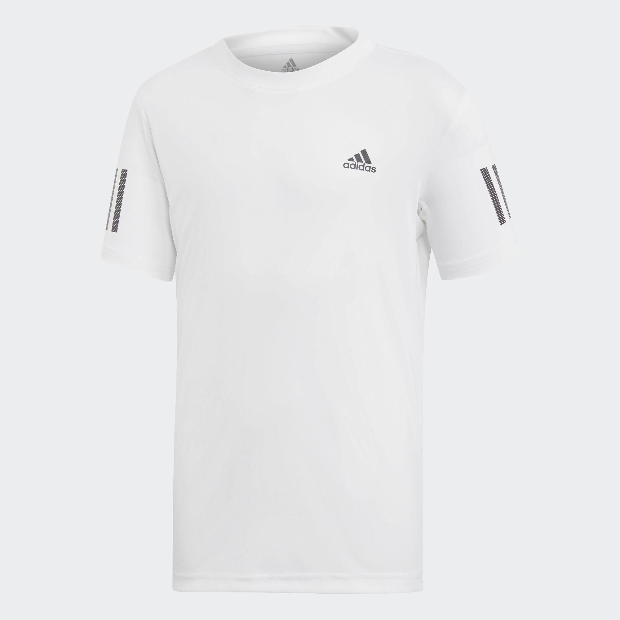 size 40 0fe64 1ee97 Adidas Boys 3-Stripes Club Tee - White - Tennisnuts.com