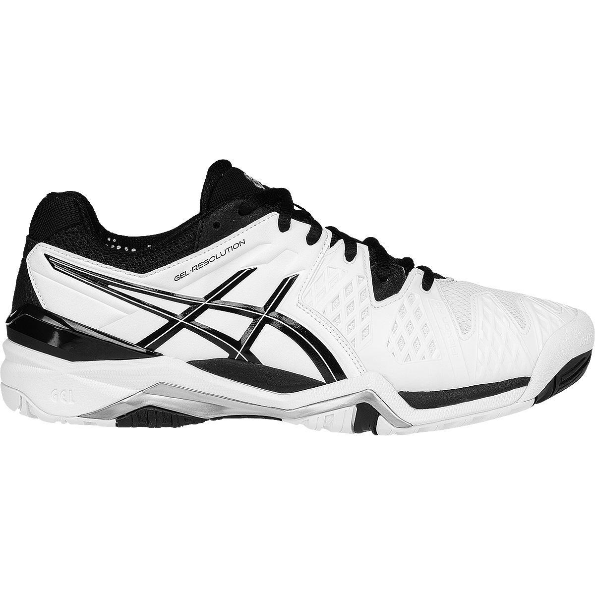 Asics Mens GEL Resolution 6 Tennis Shoes WhiteBlackSilver