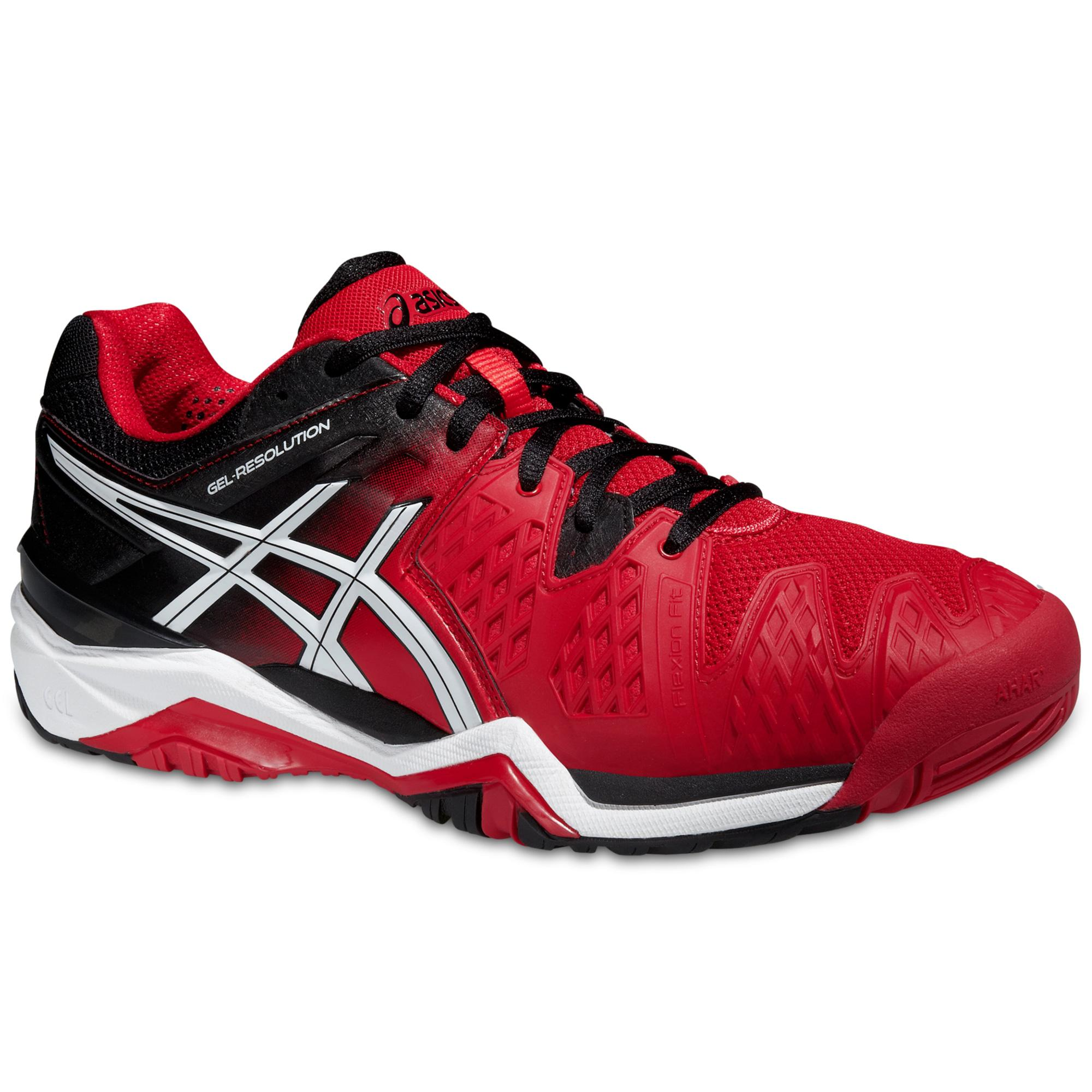 4ecf0783aae7 Asics Mens GEL-Resolution 6 Tennis Shoes - Fiery Red - Tennisnuts.com