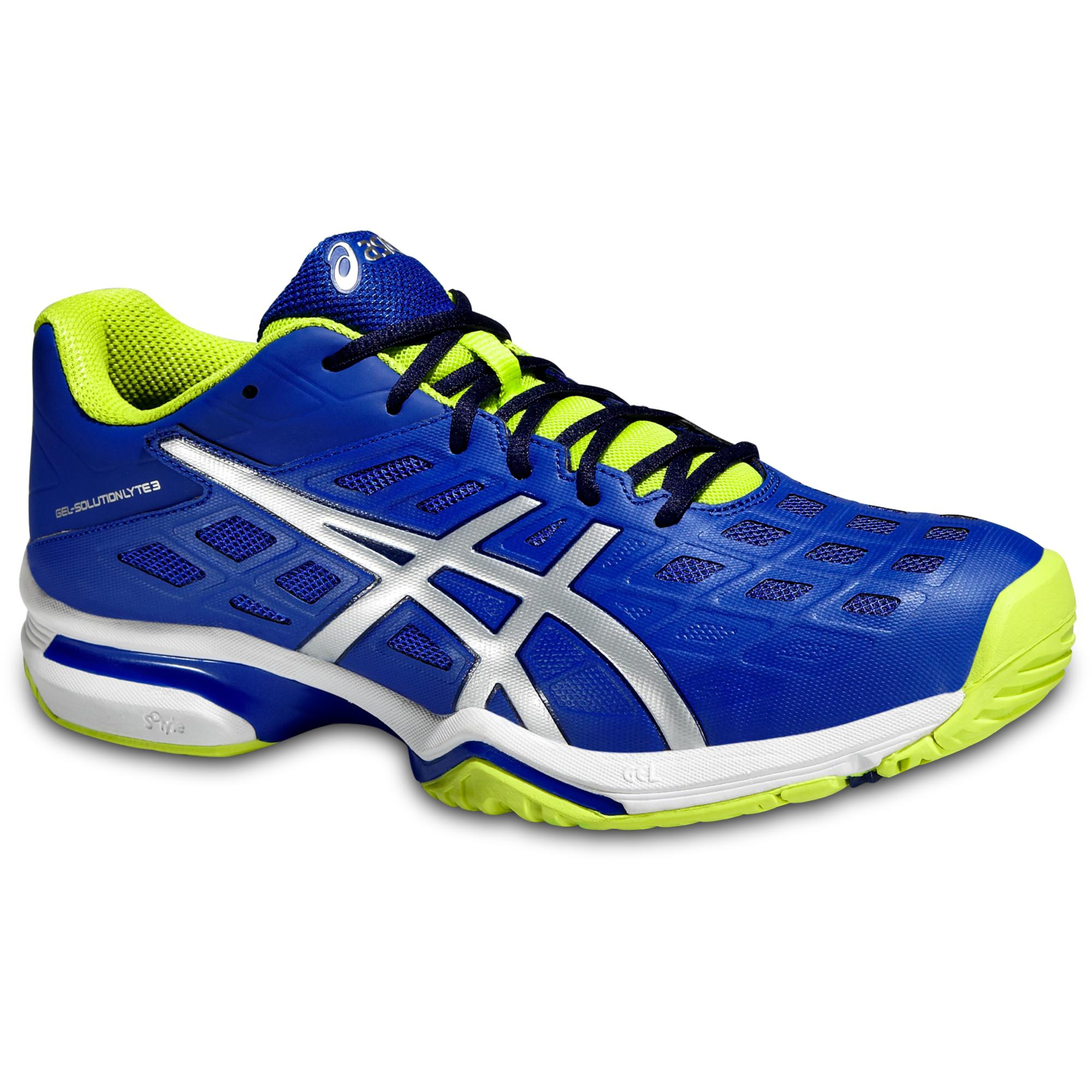 Asics Mens GEL-Solution Lyte 3 Tennis Shoes - Blue/Silver/Lime