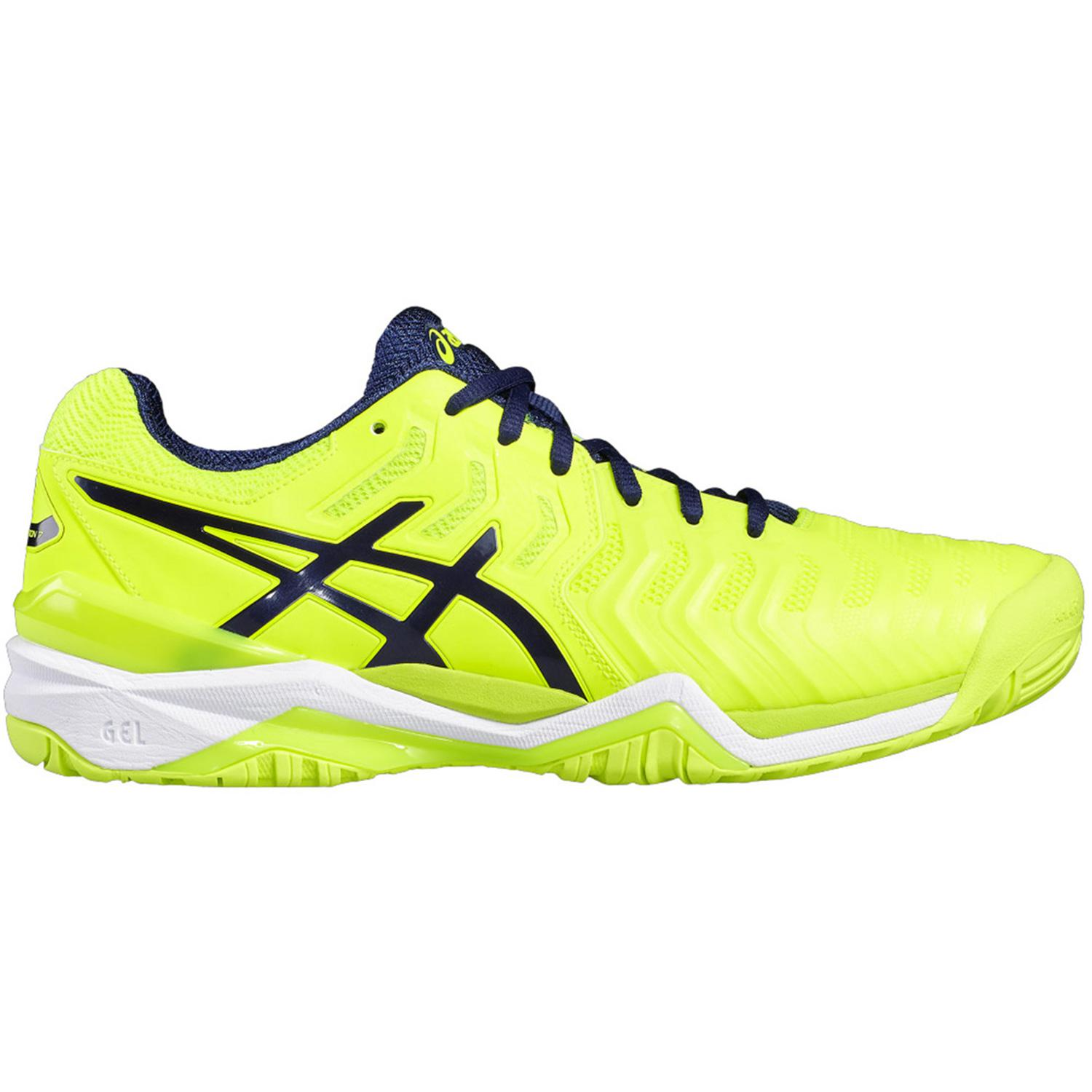 2d63fb98976c Asics Mens GEL-Resolution 7 Tennis Shoes - Yellow Blue - Tennisnuts.com