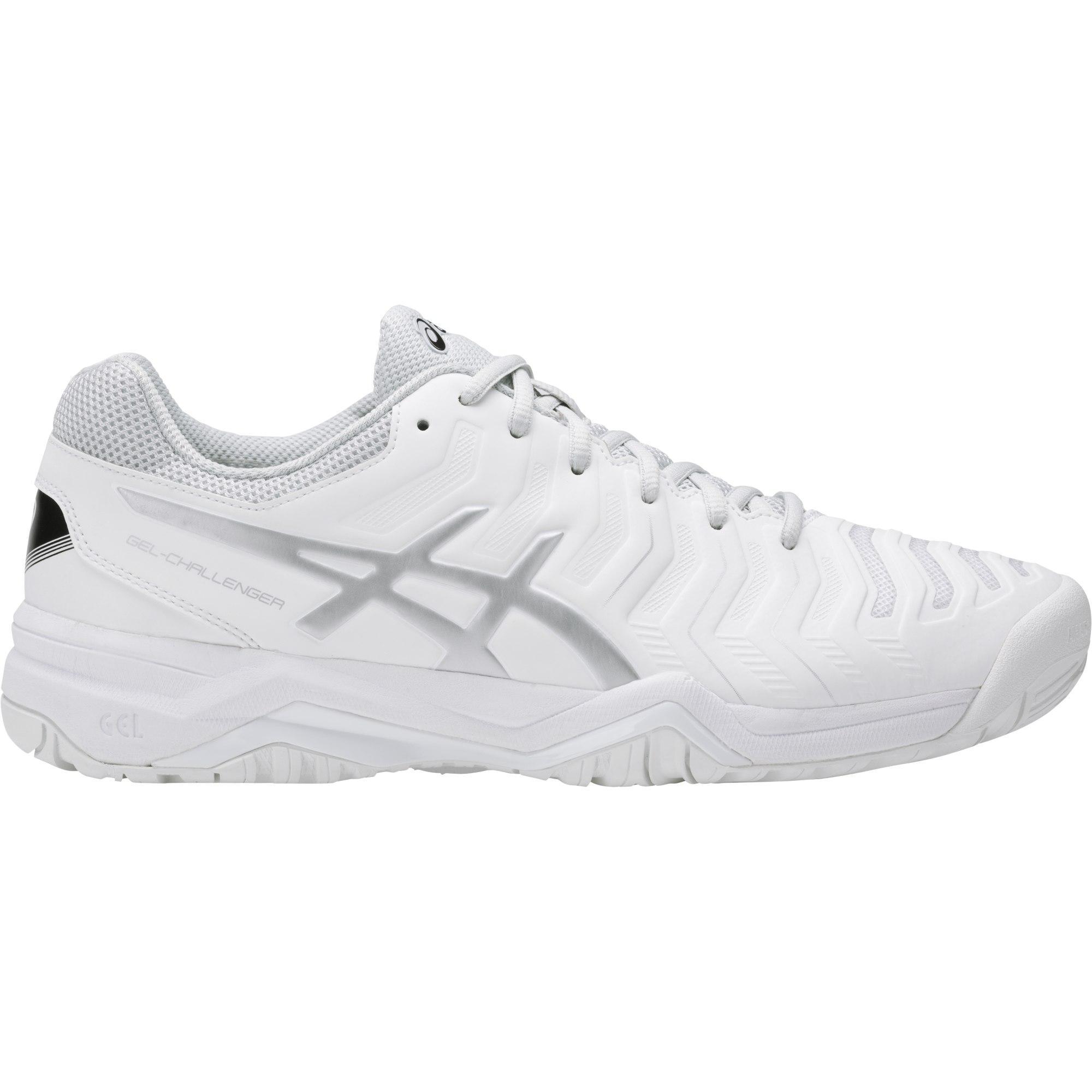 buy popular d35fb 0b60b Asics Mens GEL-Challenger 11 Tennis Shoes - White Silver - Tennisnuts.com