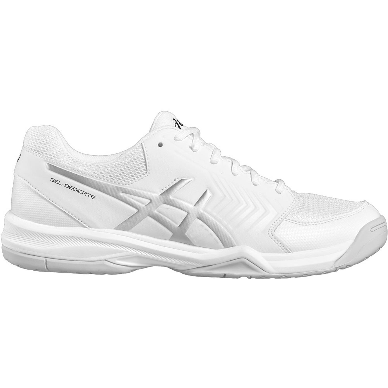 f2cc241ced29 Asics Mens GEL-Dedicate 5 Tennis Shoes - White/Silver - Tennisnuts.com