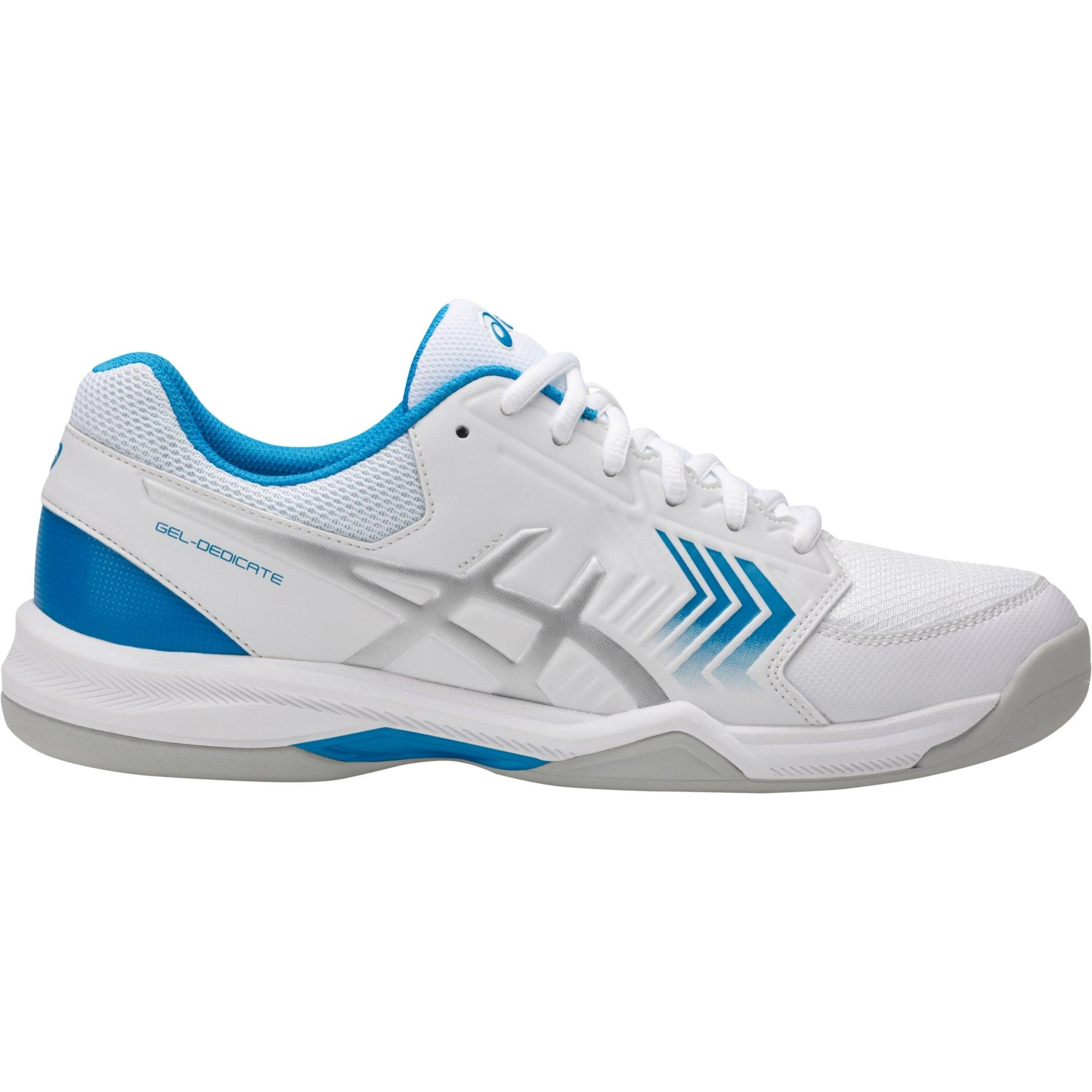 c20006eb2f78 Asics Mens GEL-Dedicate 5 Indoor Carpet Tennis Shoes - White Blue -  Tennisnuts.com
