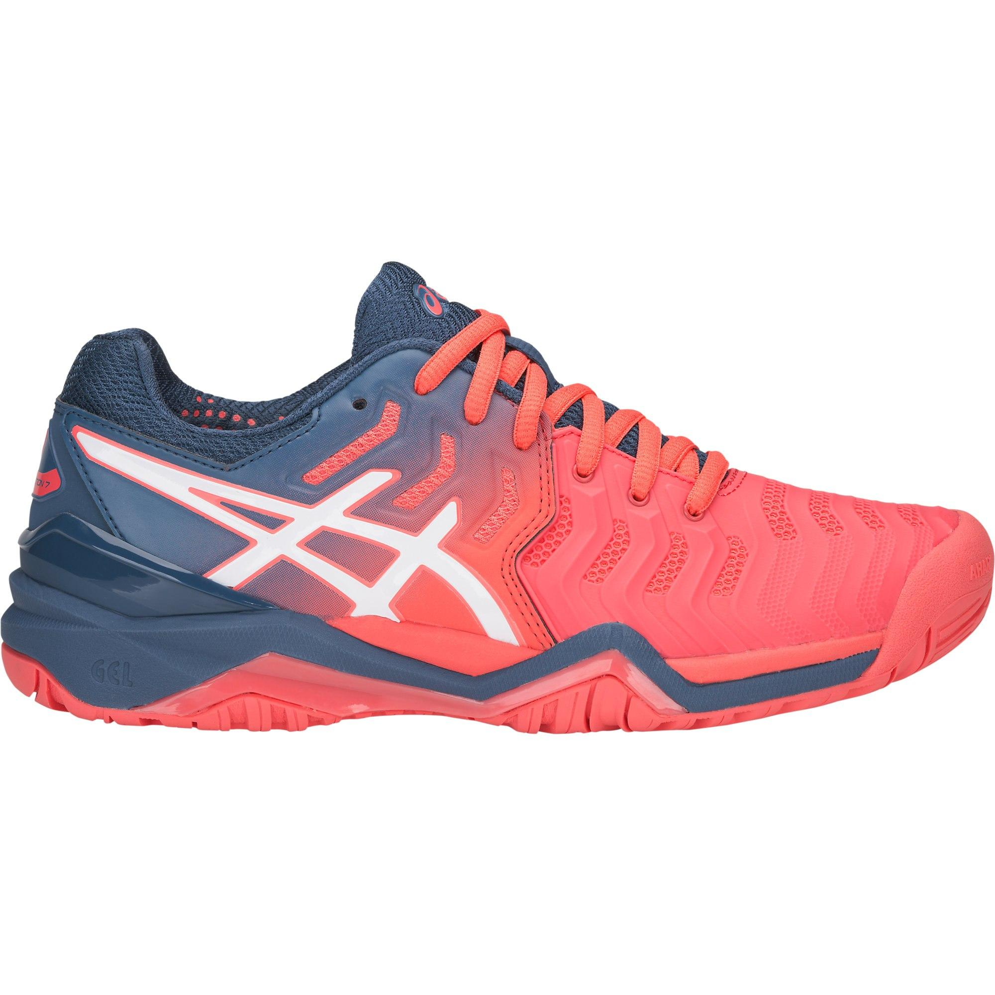 a4eba5483ec2 Asics Womens GEL-Resolution 7 Tennis Shoes - Papaya/Blue - Tennisnuts.com