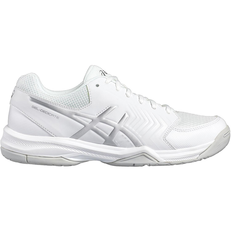 9098e504d6da Asics Womens GEL-Dedicate 5 Tennis Shoes - White Silver - Tennisnuts.com