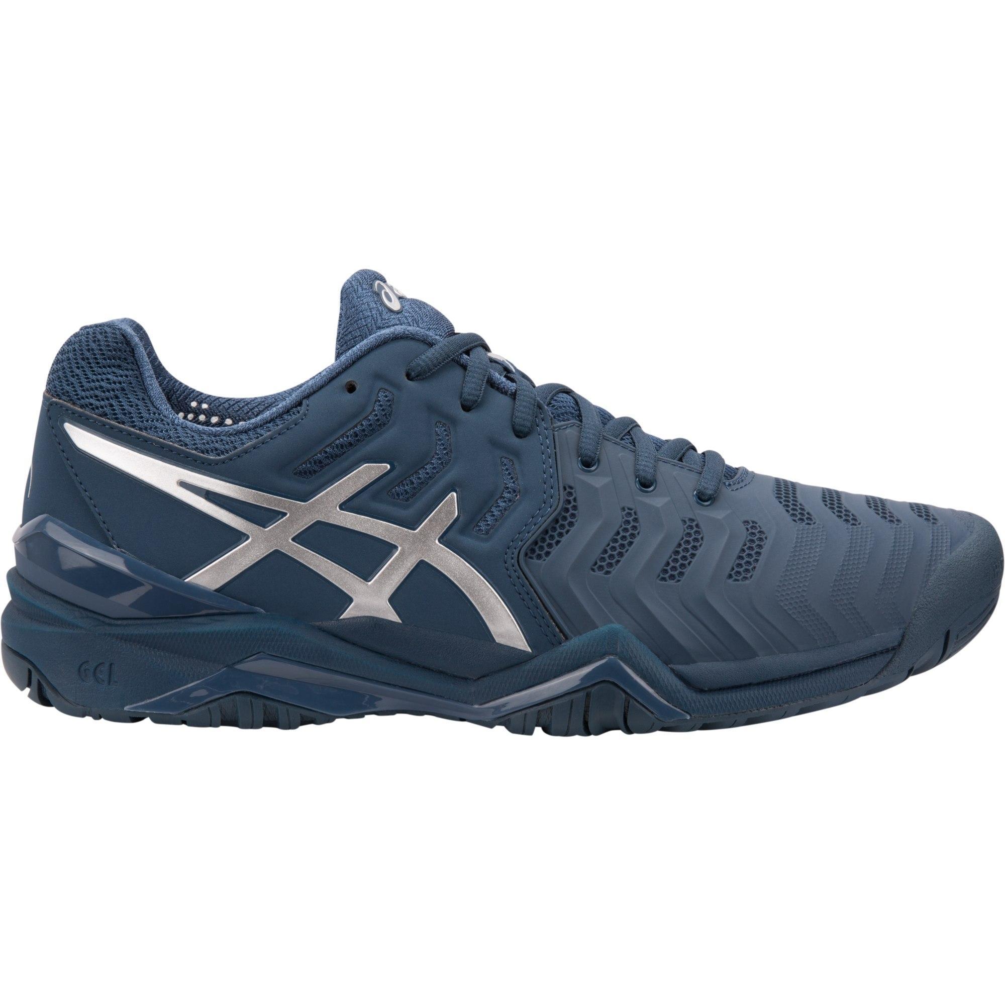 19a18a07 Asics Mens GEL-Resolution Novak Tennis Shoes - Peacoat/Silver