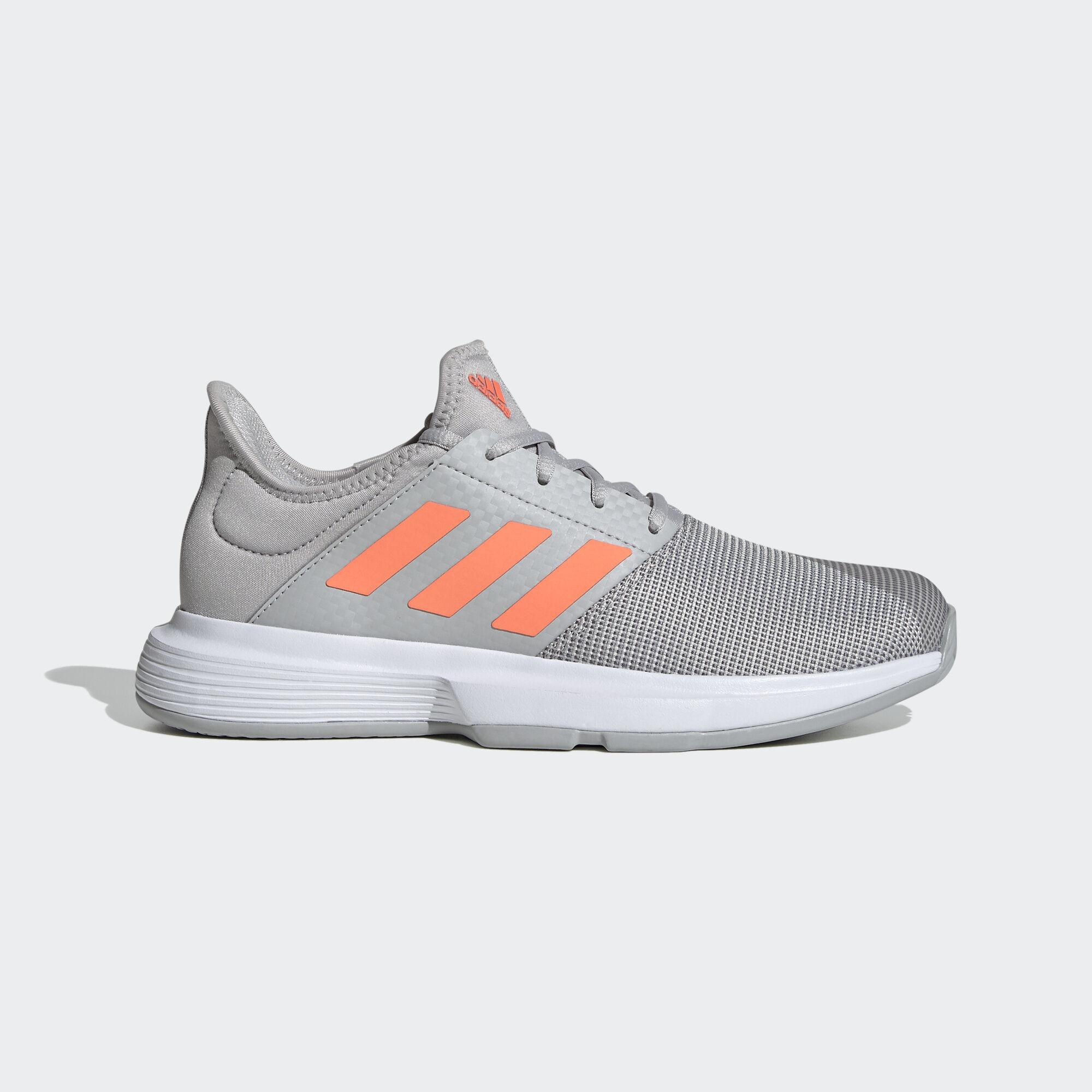 Adidas Womens GameCourt Tennis Shoes - Grey/Coral