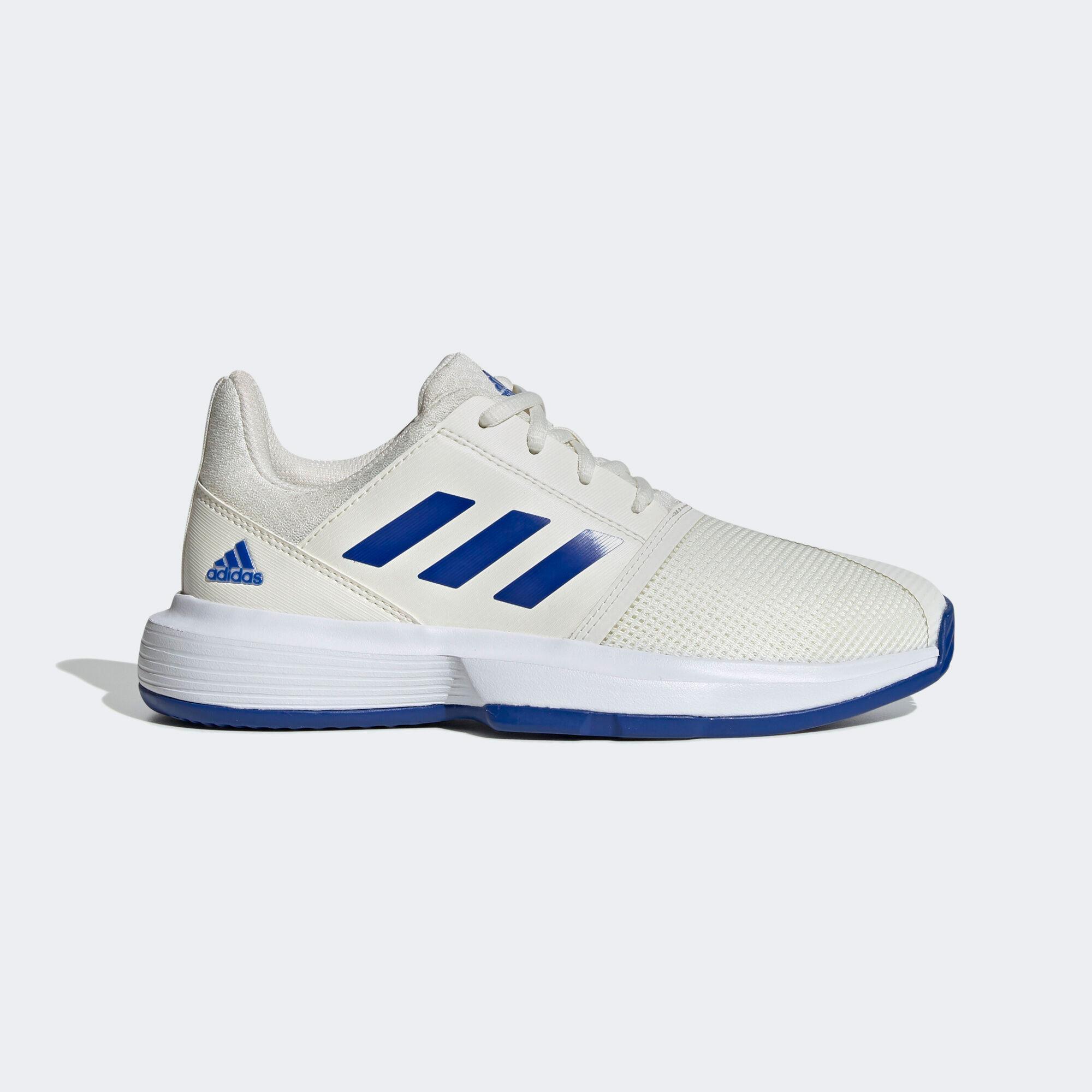 Adidas Kids CourtJam XJ Tennis Shoes - Off White/Blue