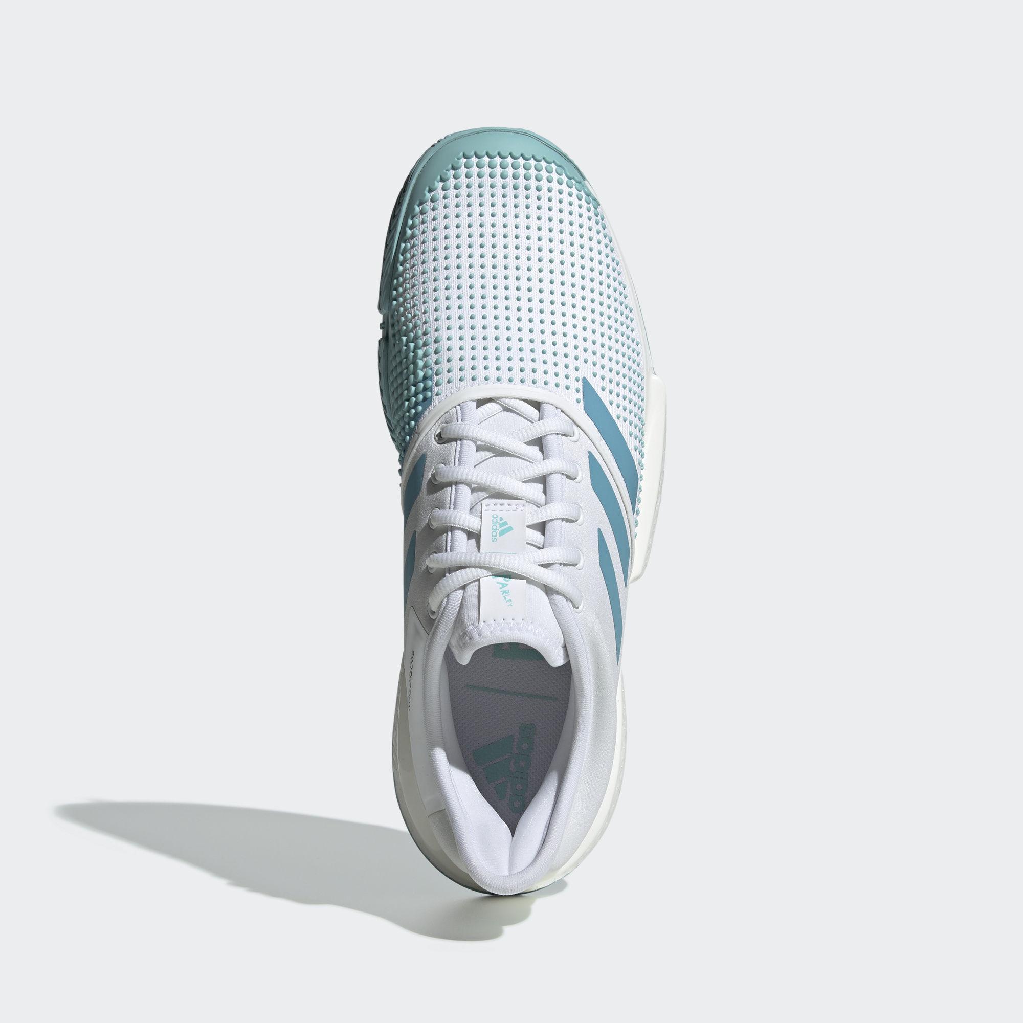 best loved 8dcef ffaed Adidas Mens SoleCourt Boost Parley Tennis Shoes - White Blue