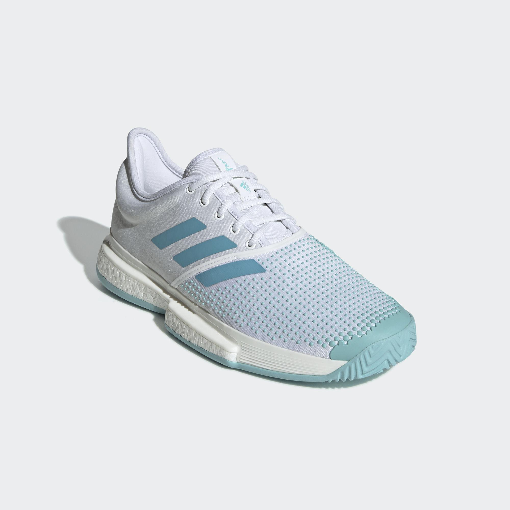 095646889058f Adidas Mens SoleCourt Boost Parley Tennis Shoes - White Blue ...