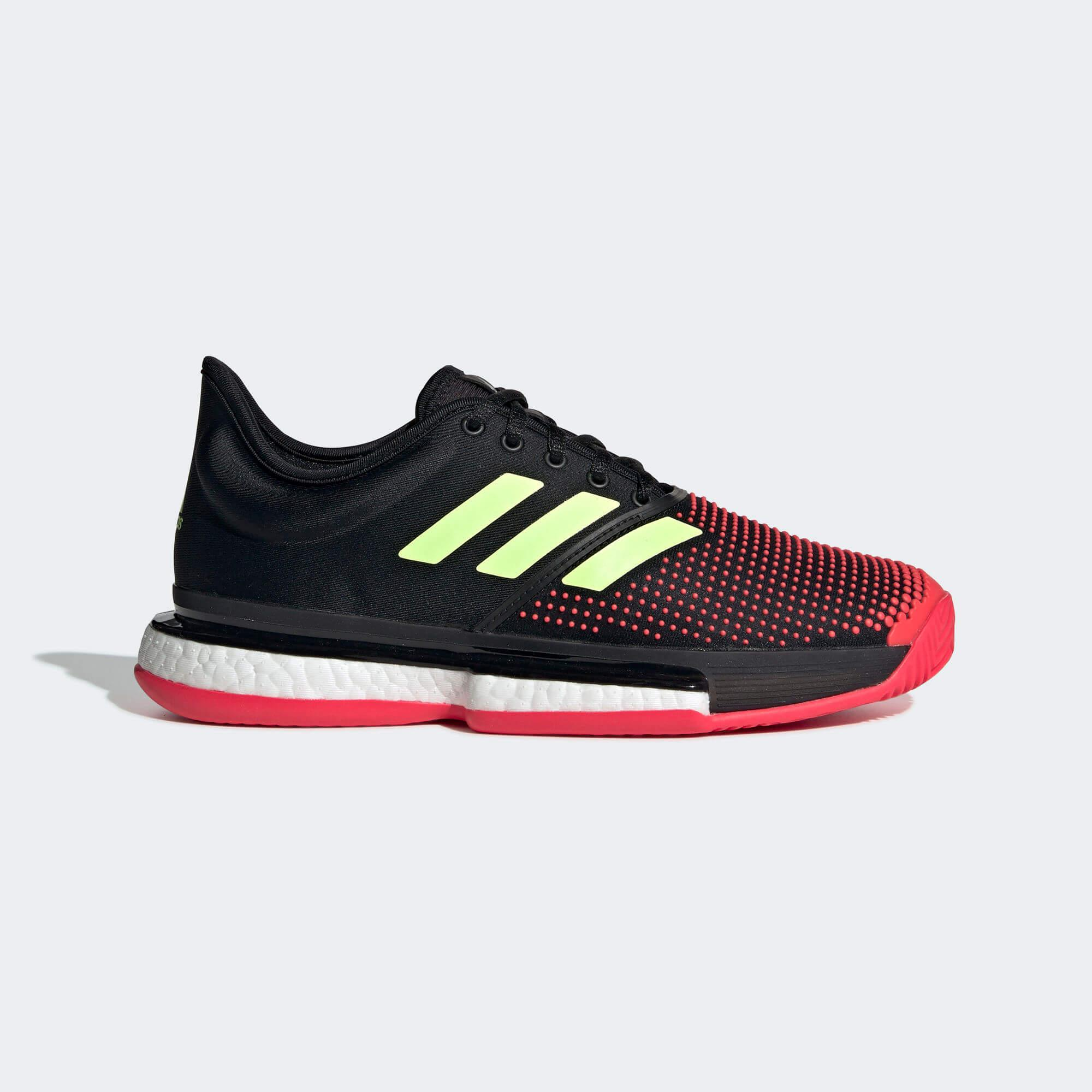 buy popular f64d7 e120f ... clearance adidas womens solecourt boost tennis shoes black shock red  569a0 a4833