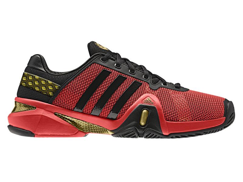 separation shoes 3d646 1a68a Adidas Mens adipower Barricade 8 Tennis Shoes - Black Hi-Res Red Gold -  Tennisnuts.com