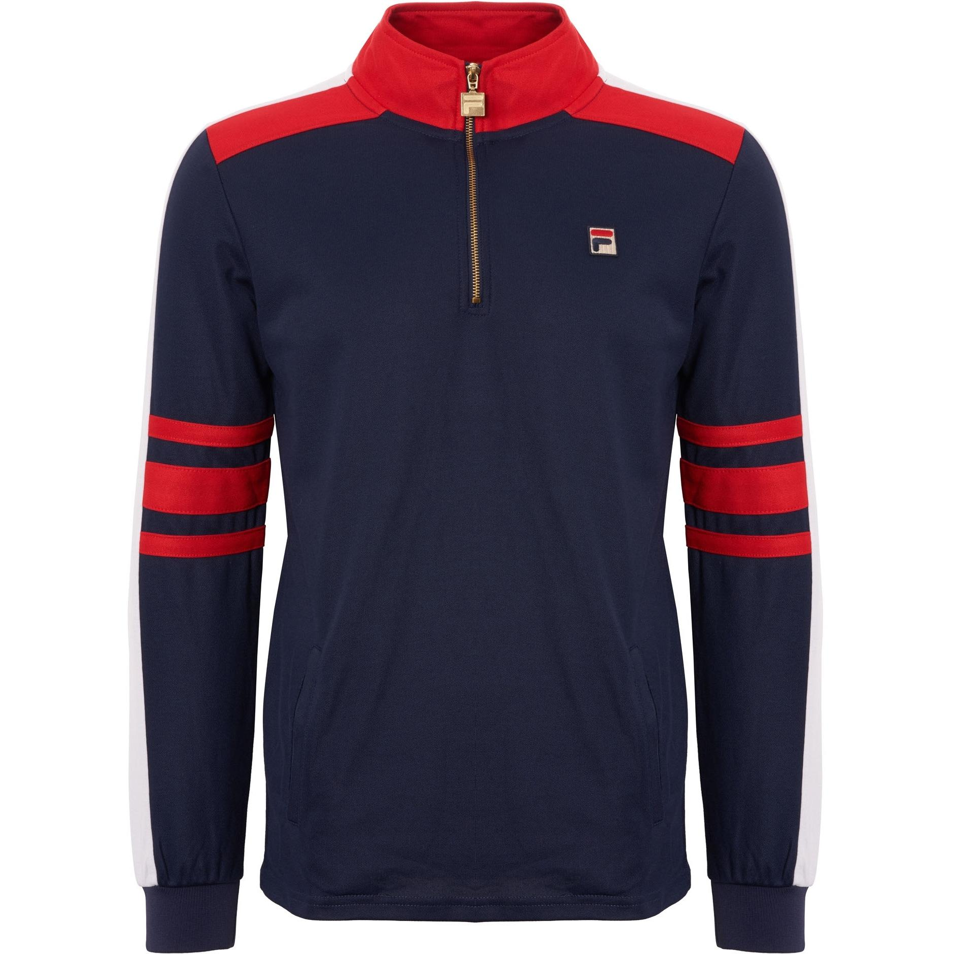 Fila Mens Alastair Vintage Track Top PeacoatChinese Red