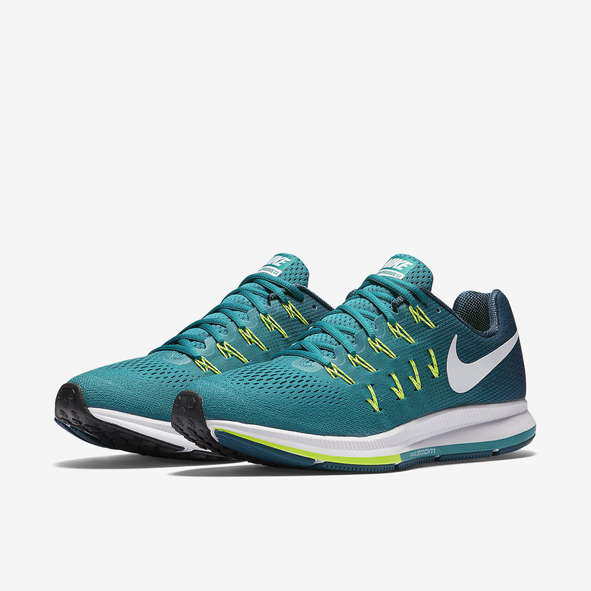 best sneakers 1a51b 1e033 Nike Mens Air Zoom Pegasus 33 Running Shoes - Rio Teal Midnight Turquoise