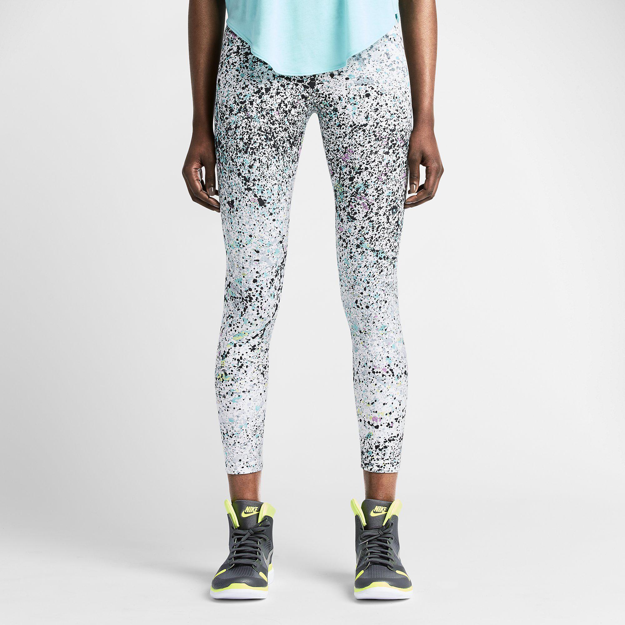 Nike Womens Club Printed Cropped Leggings - Fuchsia Glow/Black