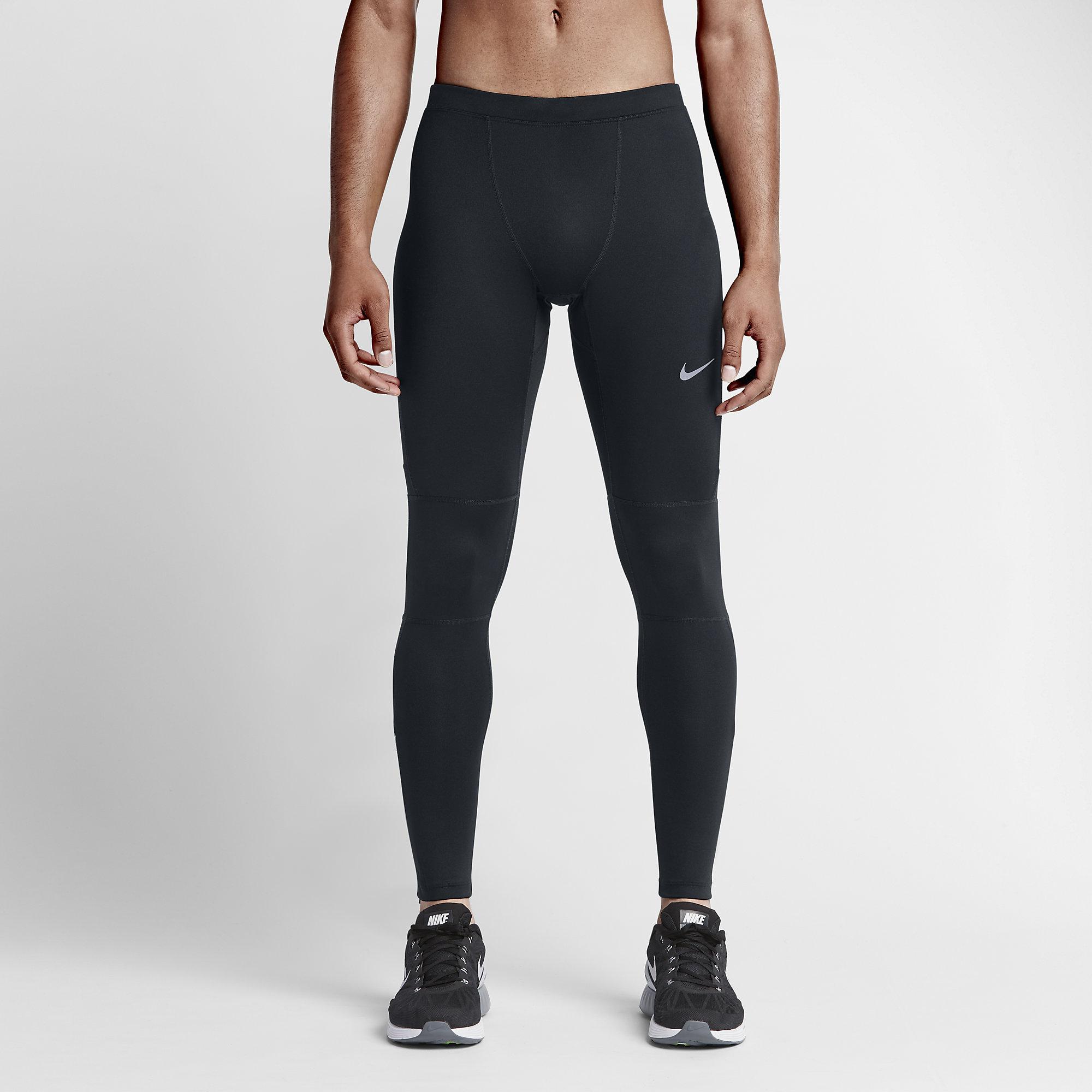 Nike Mens Dri-FIT Essential Running Tights - Black ...