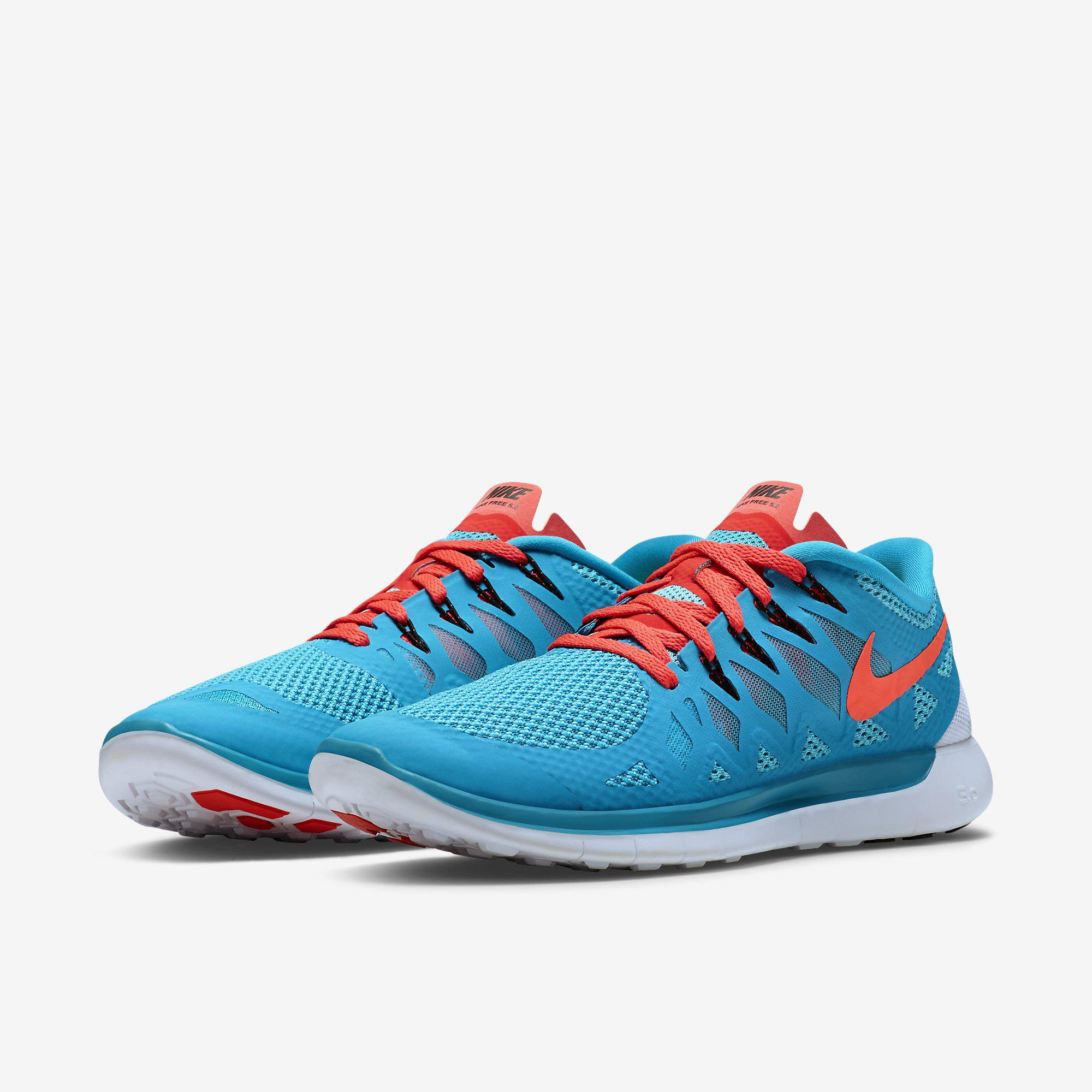 sale retailer 3ba42 b65d5 Nike Mens Free 5.0+ Running Shoes - Blue Lagoon/Bright Crimson ...