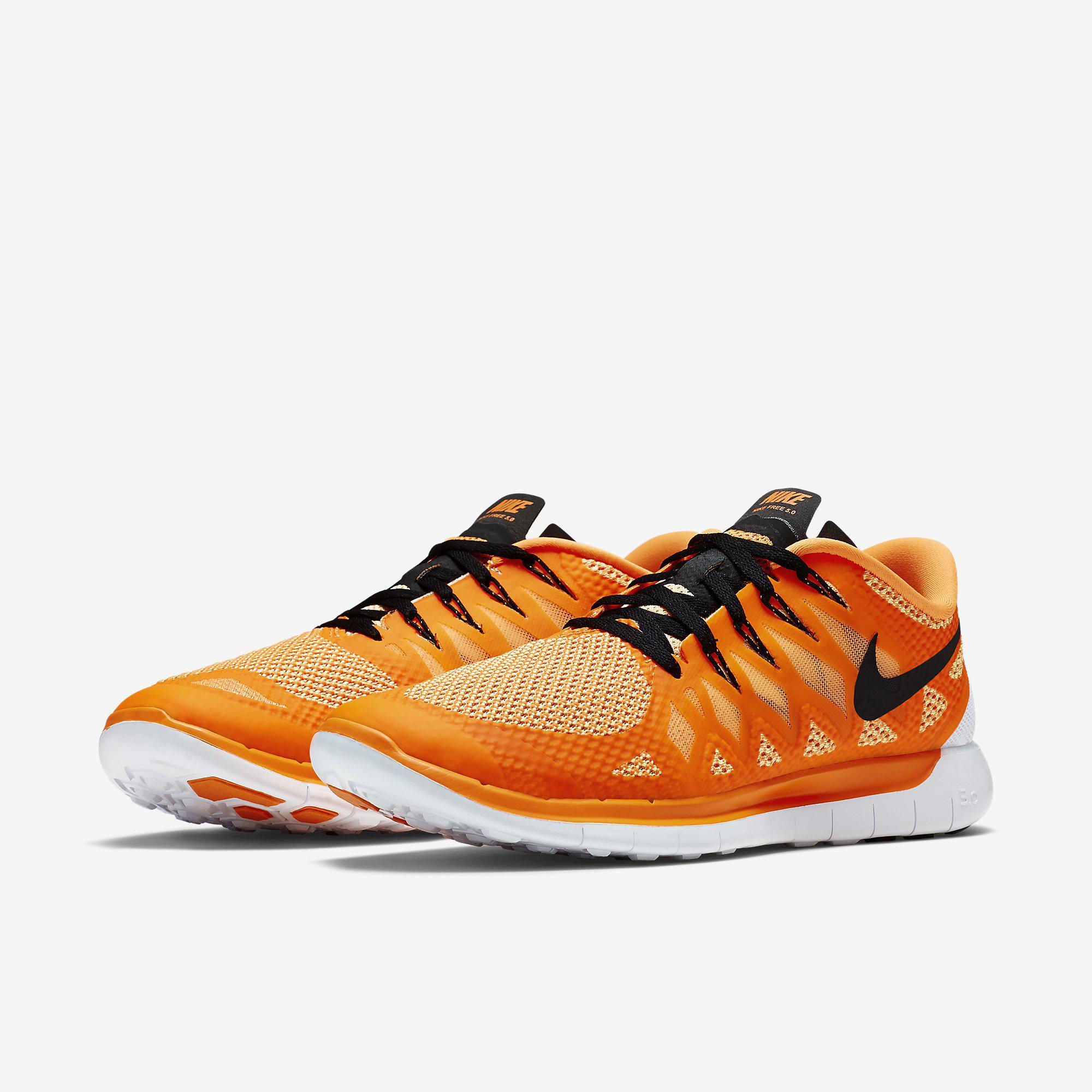 nike mens free 5 0 running shoes orange black