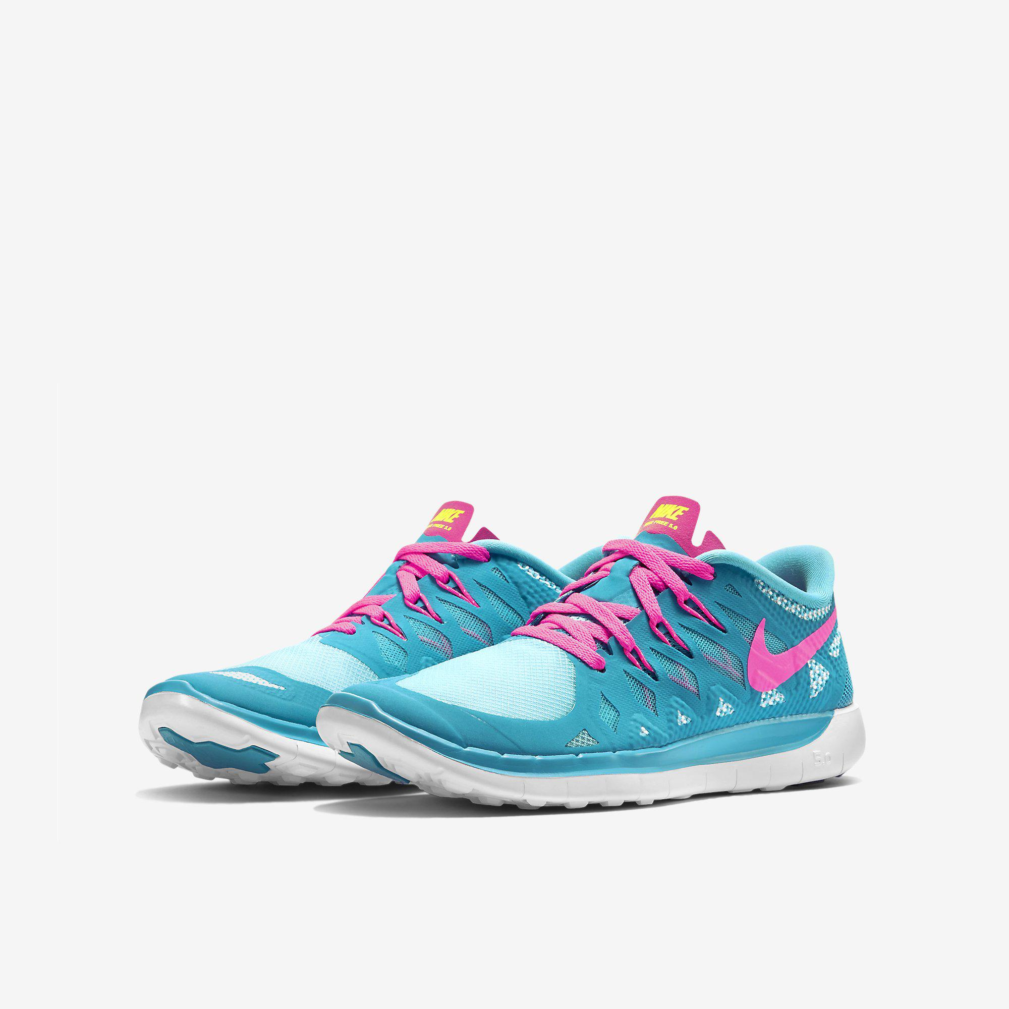 5da5277c8c749 Nike Girls Free 5.0 Running Shoes - Blue Lagoon Pink - Tennisnuts.com