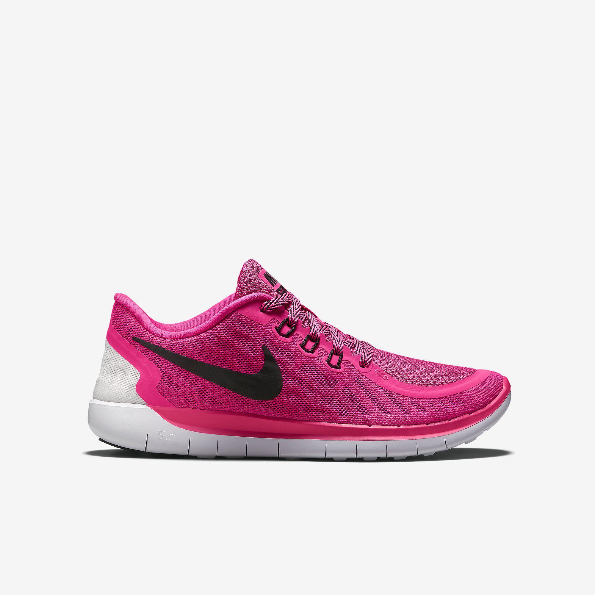 info for c86fc ab414 Nike Girls Free 5.0 Running Shoes - Pink Pow Vivid Pink - Tennisnuts.com