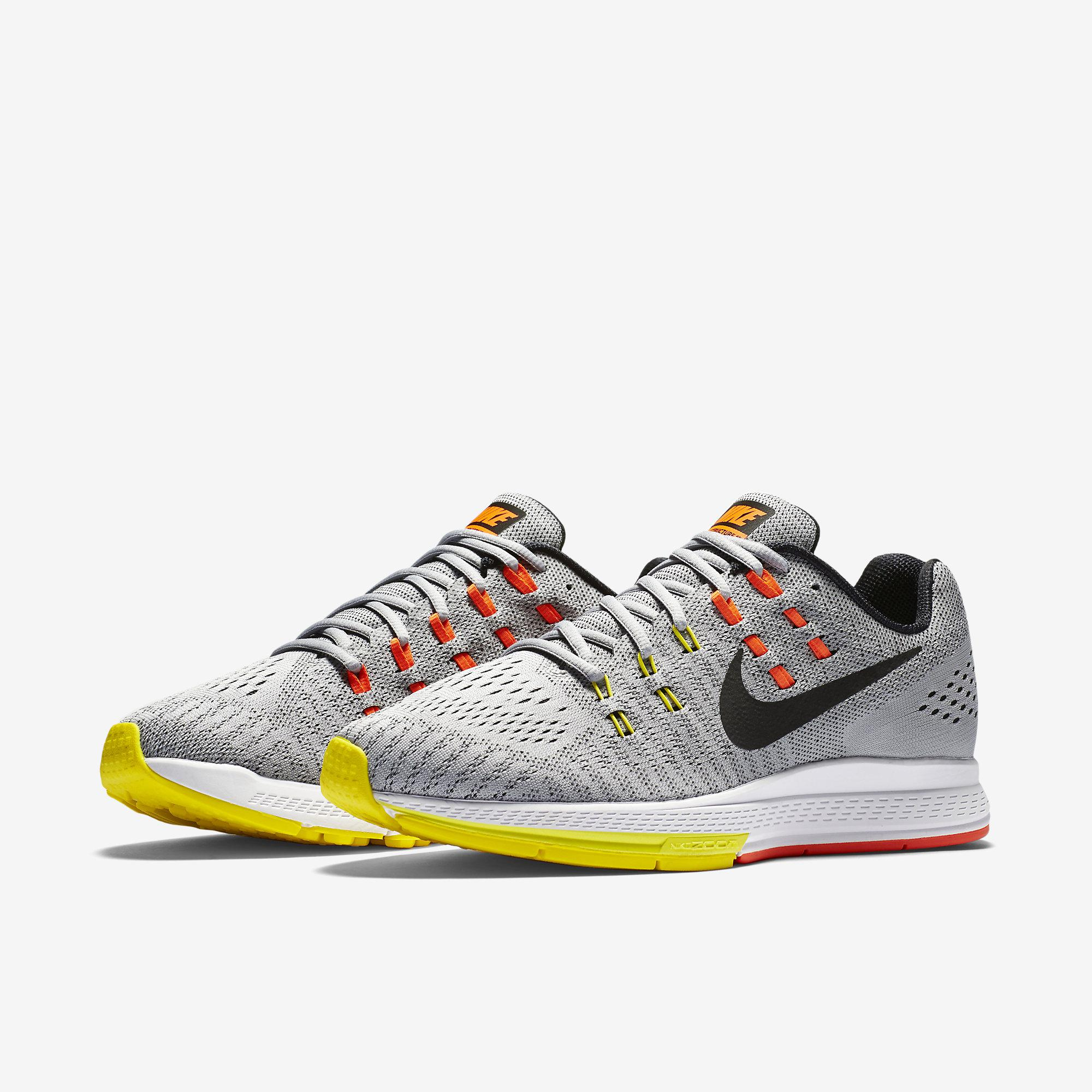 the latest 5682e fe9d0 Nike Mens Air Zoom Structure 19 Running Shoes - Grey Yellow