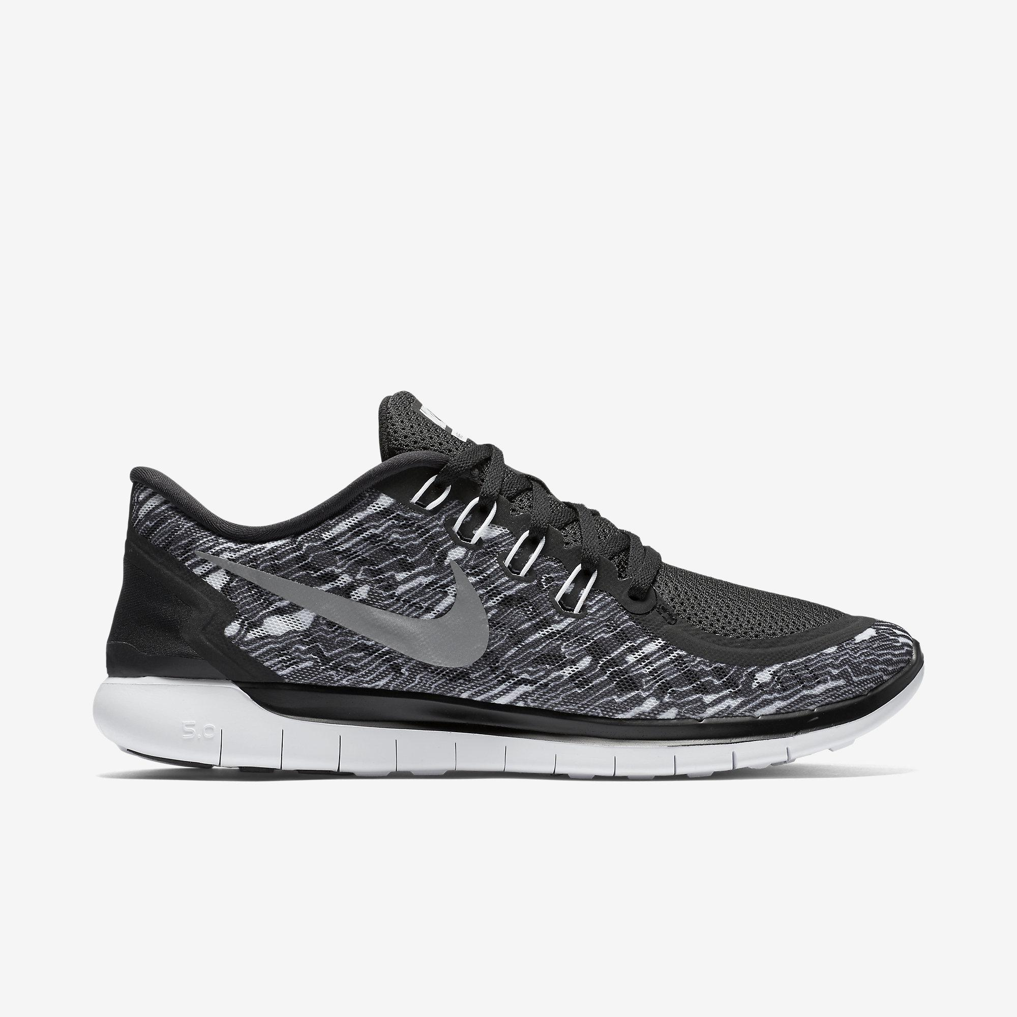 b18c30295 Nike Mens Free 5.0 Print Running Shoes - Black White - Tennisnuts.com