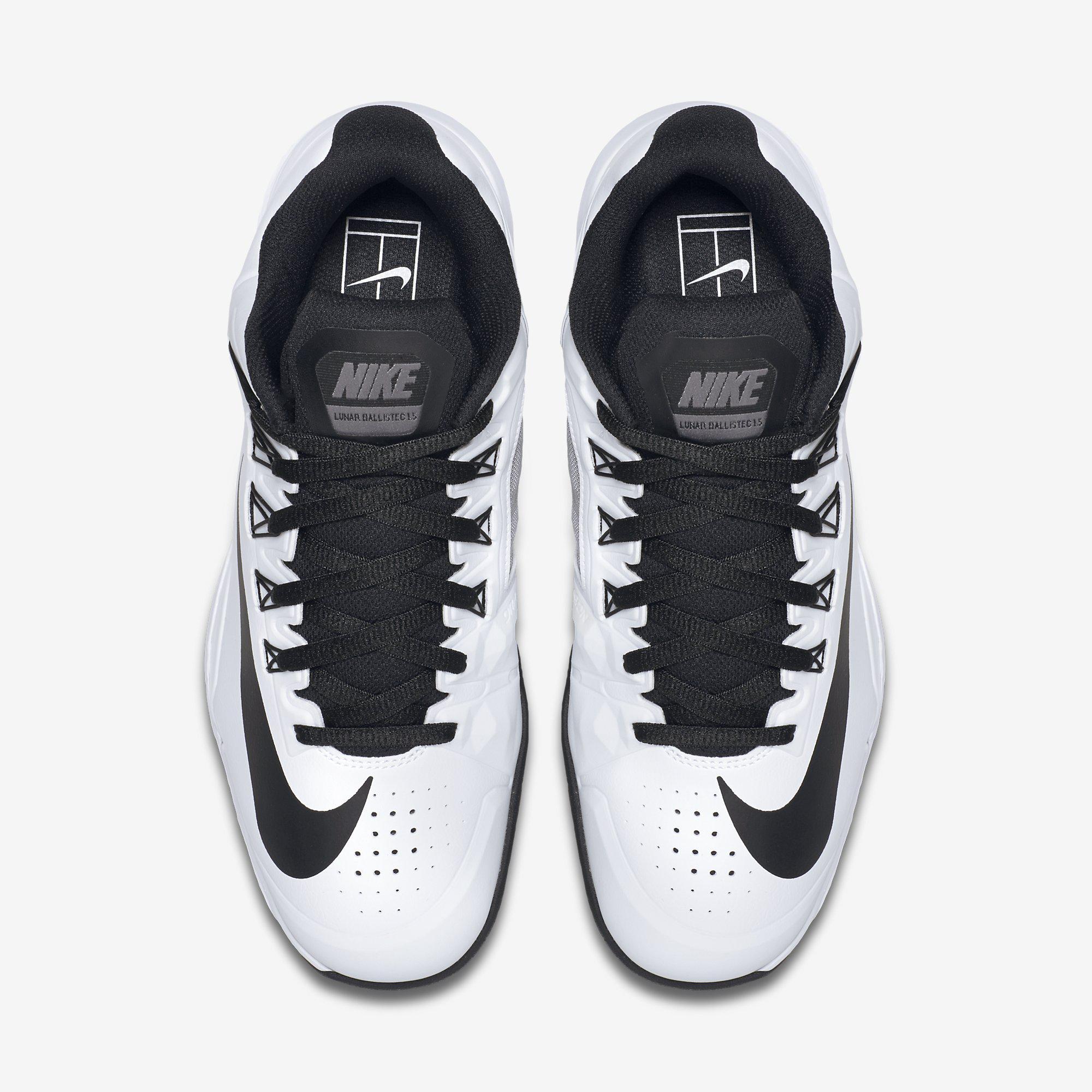 new style b7da2 61963 france nike mens lunar ballistec 1.5 tennis shoes white black 3e7f9 fc070