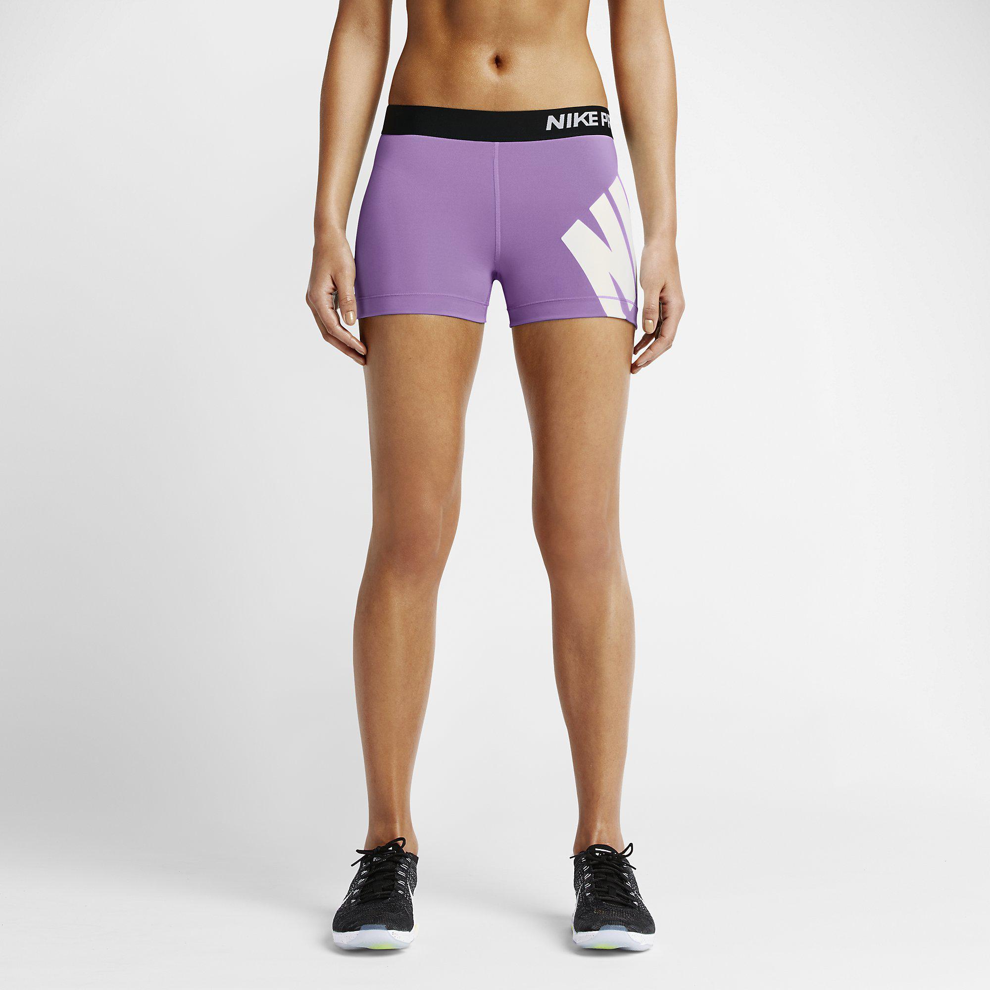 Nike Womens Pro 3 Inch Logo Training Shorts - Violet Shock Black ... e5118c173
