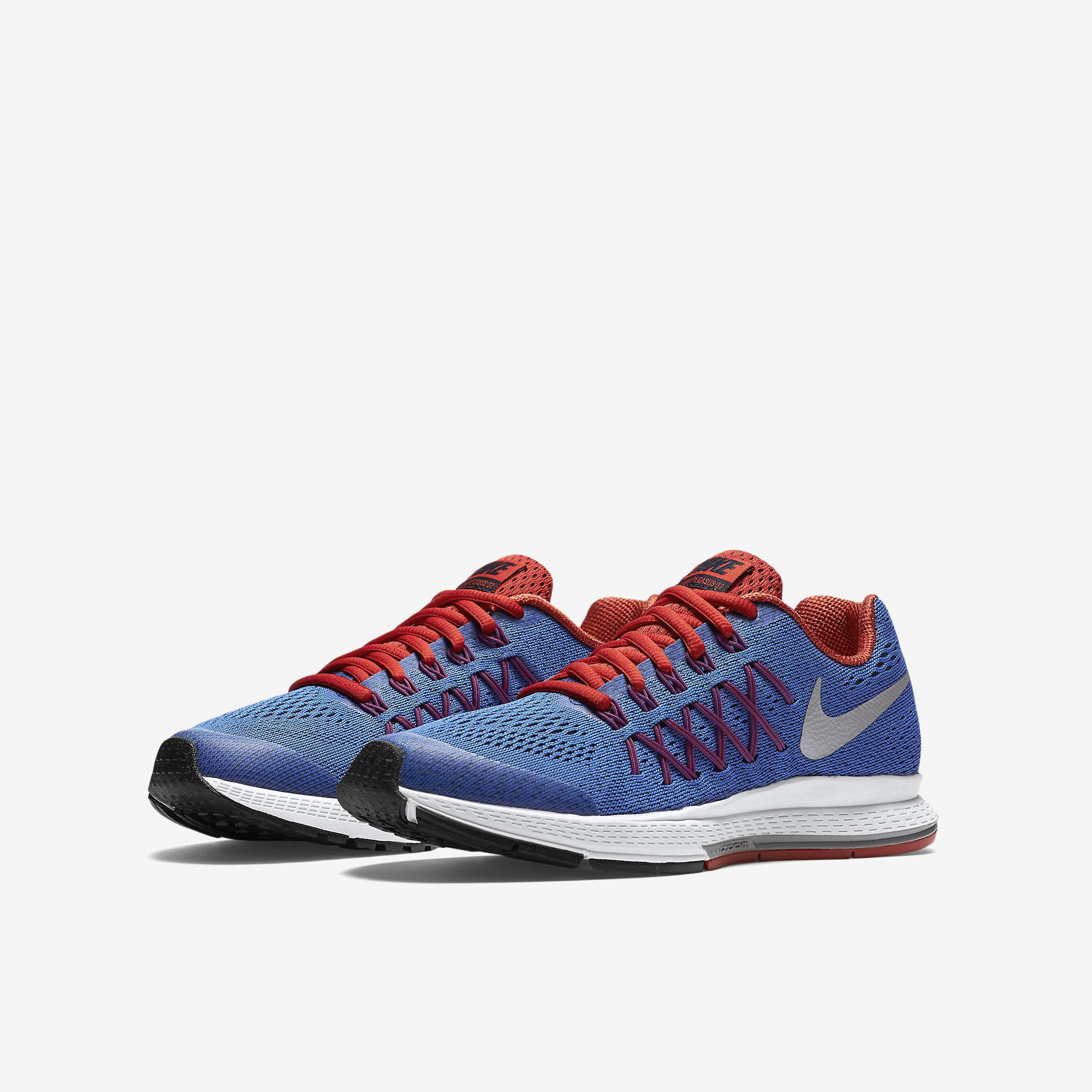 nike boys air zoom pegasus 32 running shoes blue red. Black Bedroom Furniture Sets. Home Design Ideas