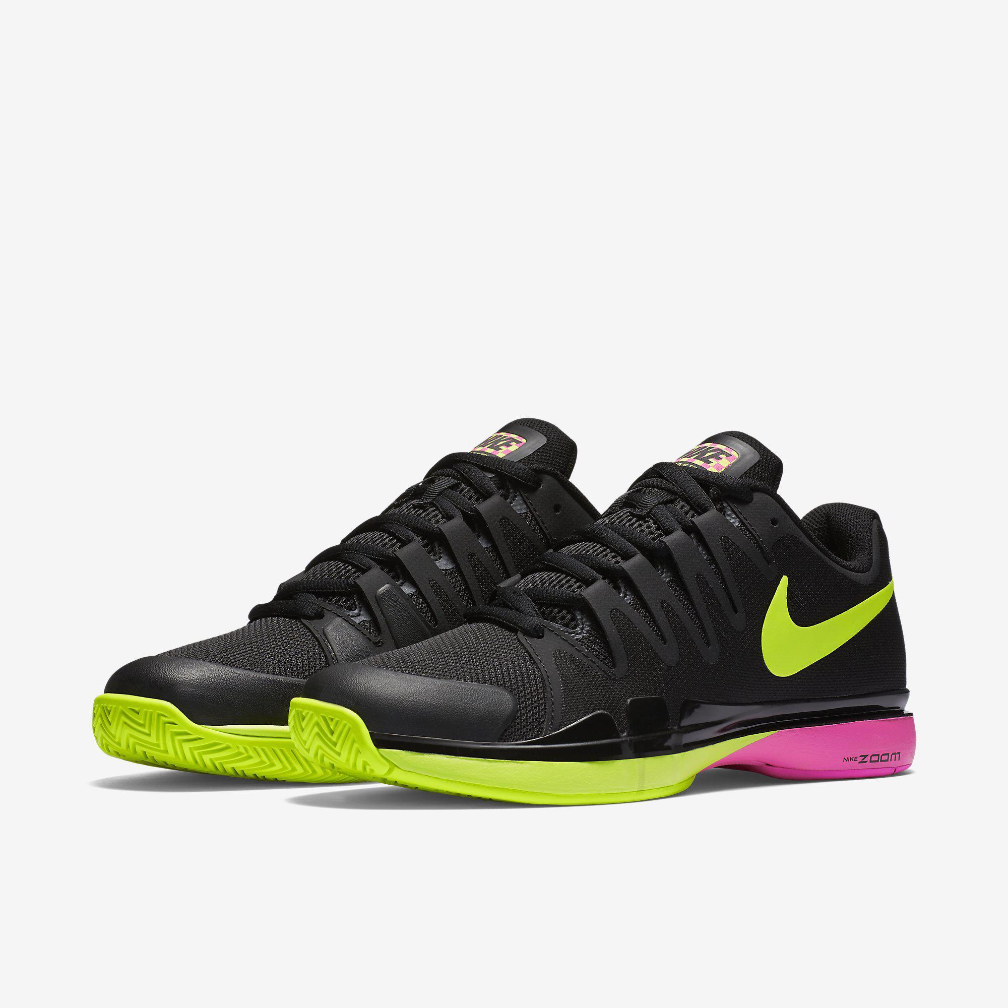 best service 87f71 e5953 Nike Mens Zoom Vapor 9.5 Tour Tennis Shoes - Black Volt Pink