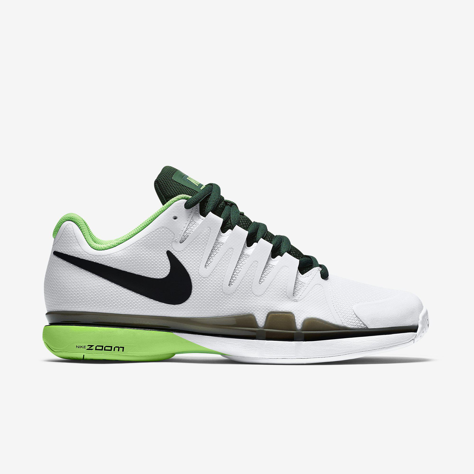Nike Mens Zoom Vapor 9.5 Tour Tennis Shoes - White/Black/Green