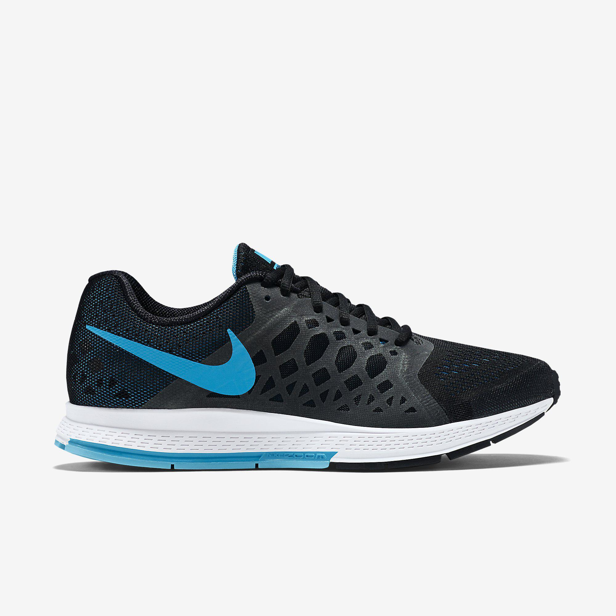 Nike Mens Air Zoom Pegasus+31 Running Shoes - Black/White/Blue