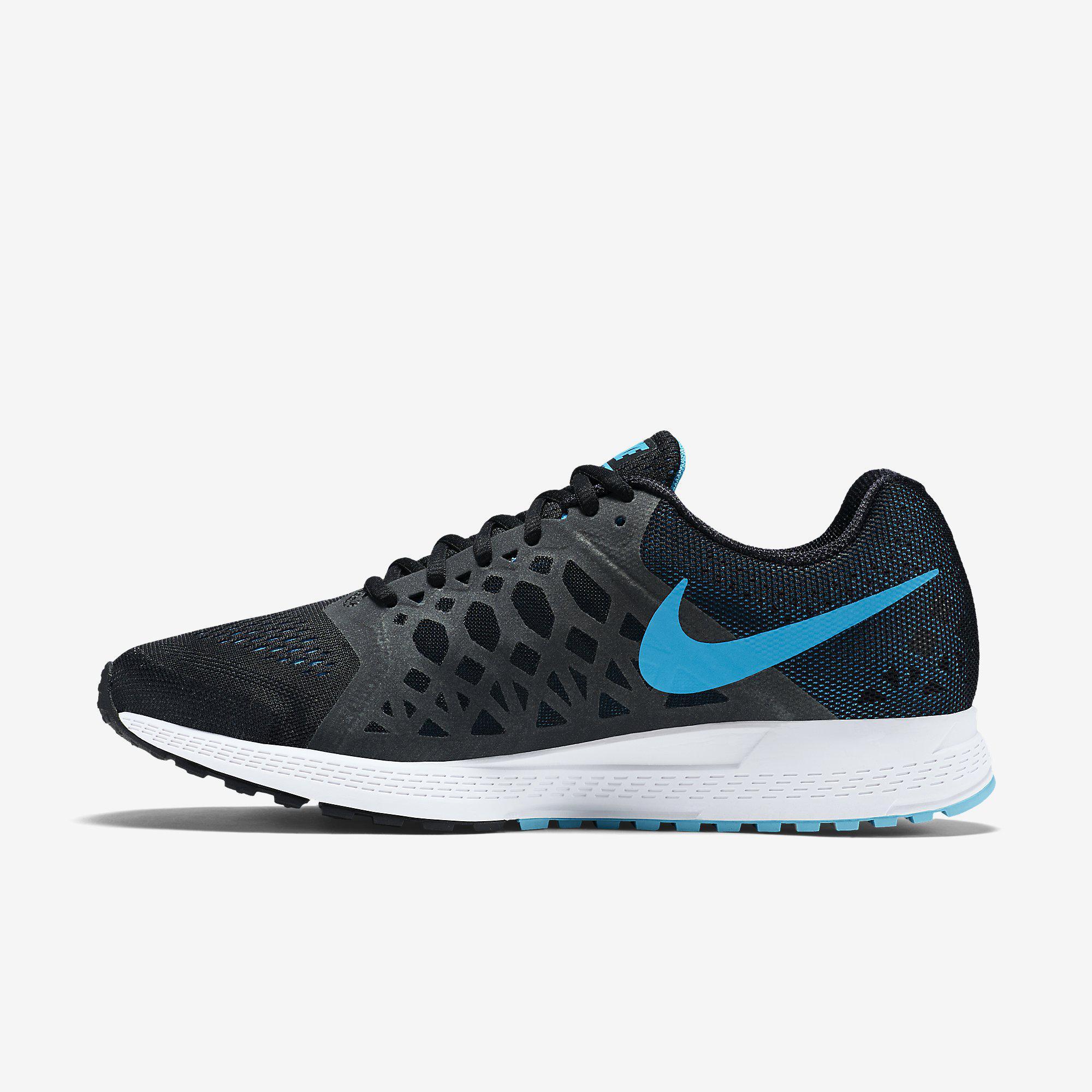Nike Mens Air Zoom Pegasus+31 Running Shoes - Black White Blue ... 71095caa4