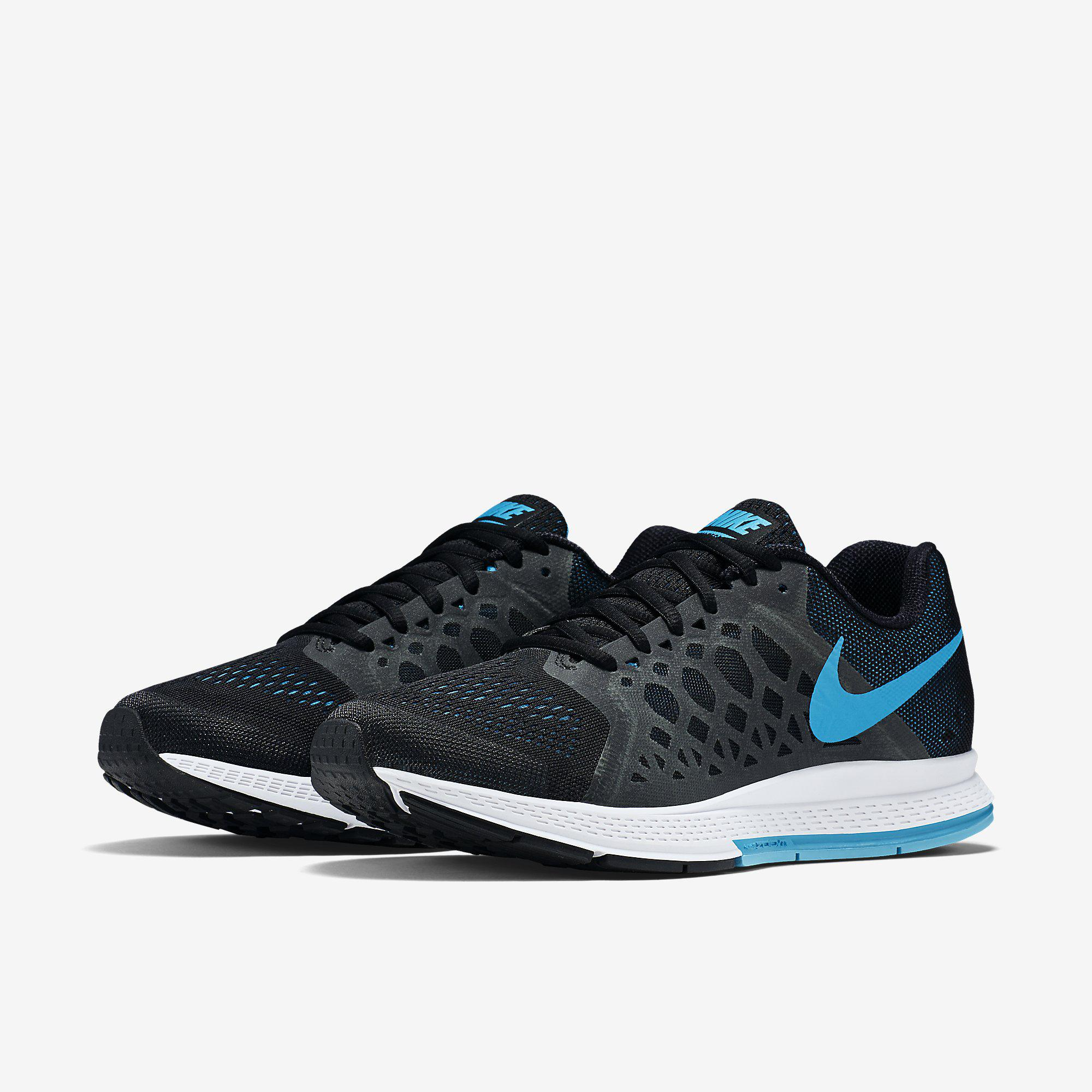 72836ef2410c9 Nike Mens Air Zoom Pegasus+31 Running Shoes - Black White Blue ...