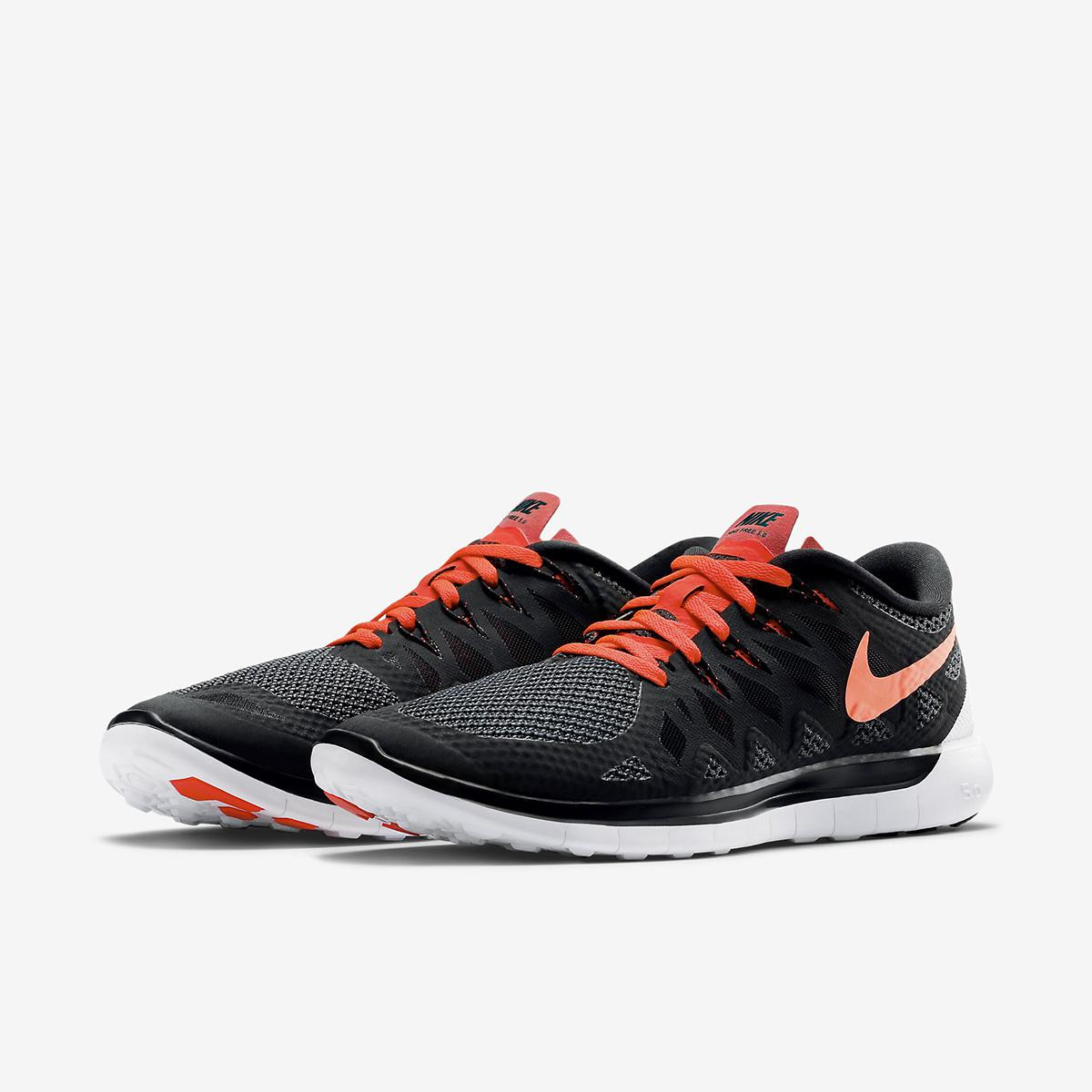 Nike Mens Free 5.0+ Running Shoes - Black/Bright Crimson