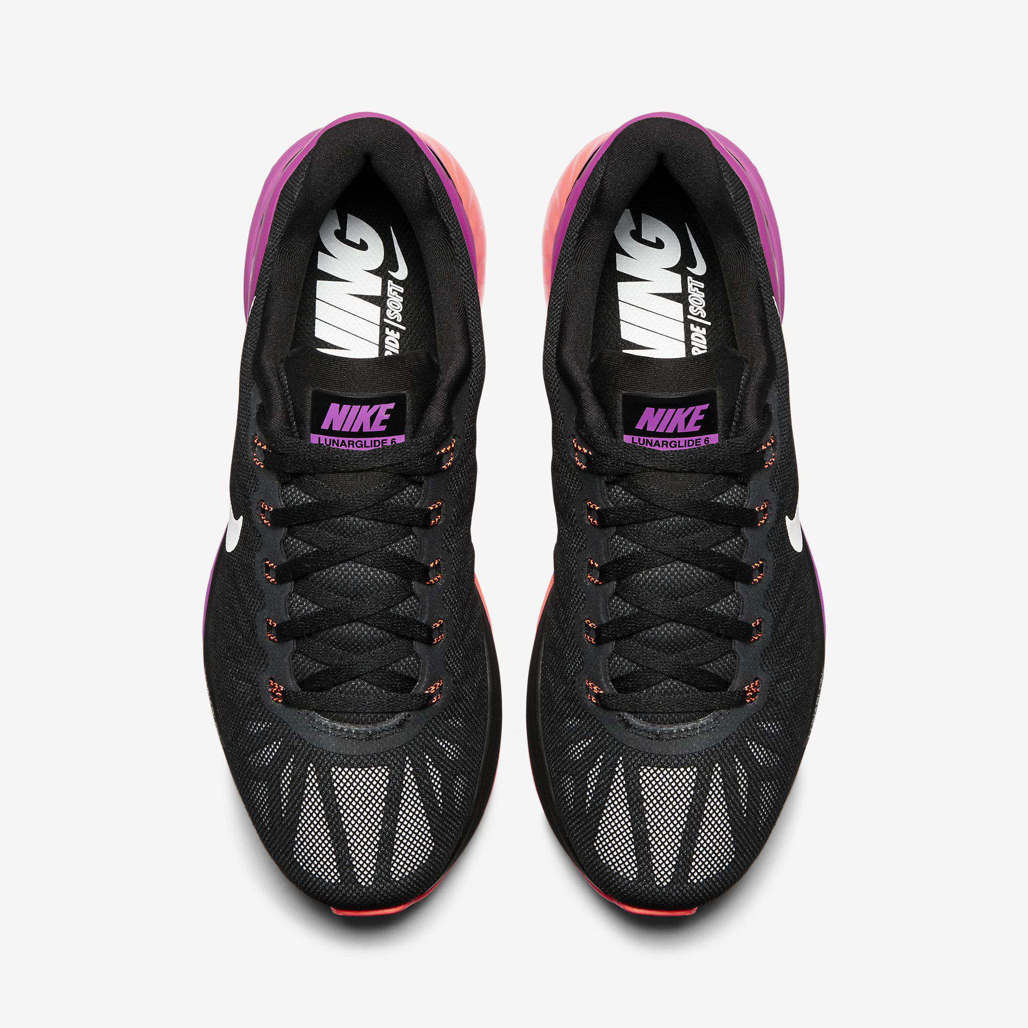 new arrival 5fd52 7cea1 Nike Womens LunarGlide 6 Running Shoes - Black/Fuchsia Flash