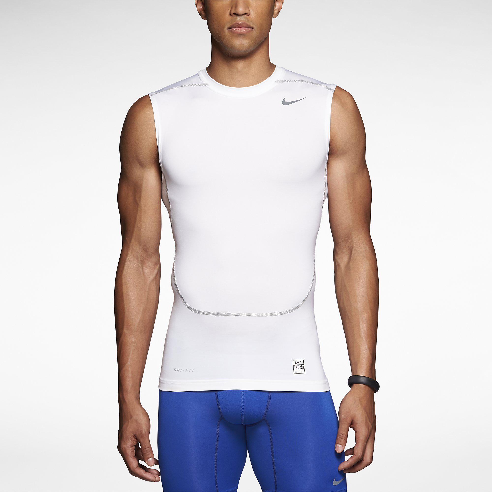 white nike pro combat shirt