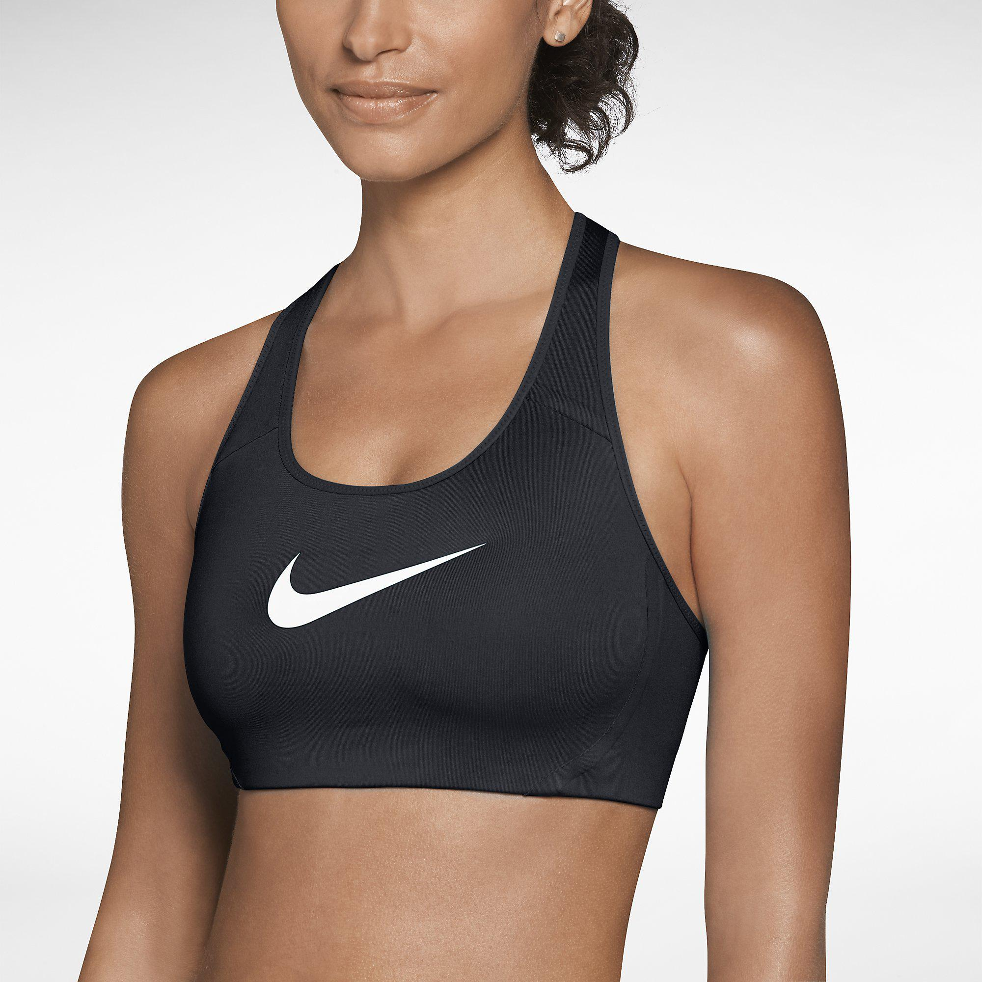 Nike Shape Swoosh Sports Bra - Black/White