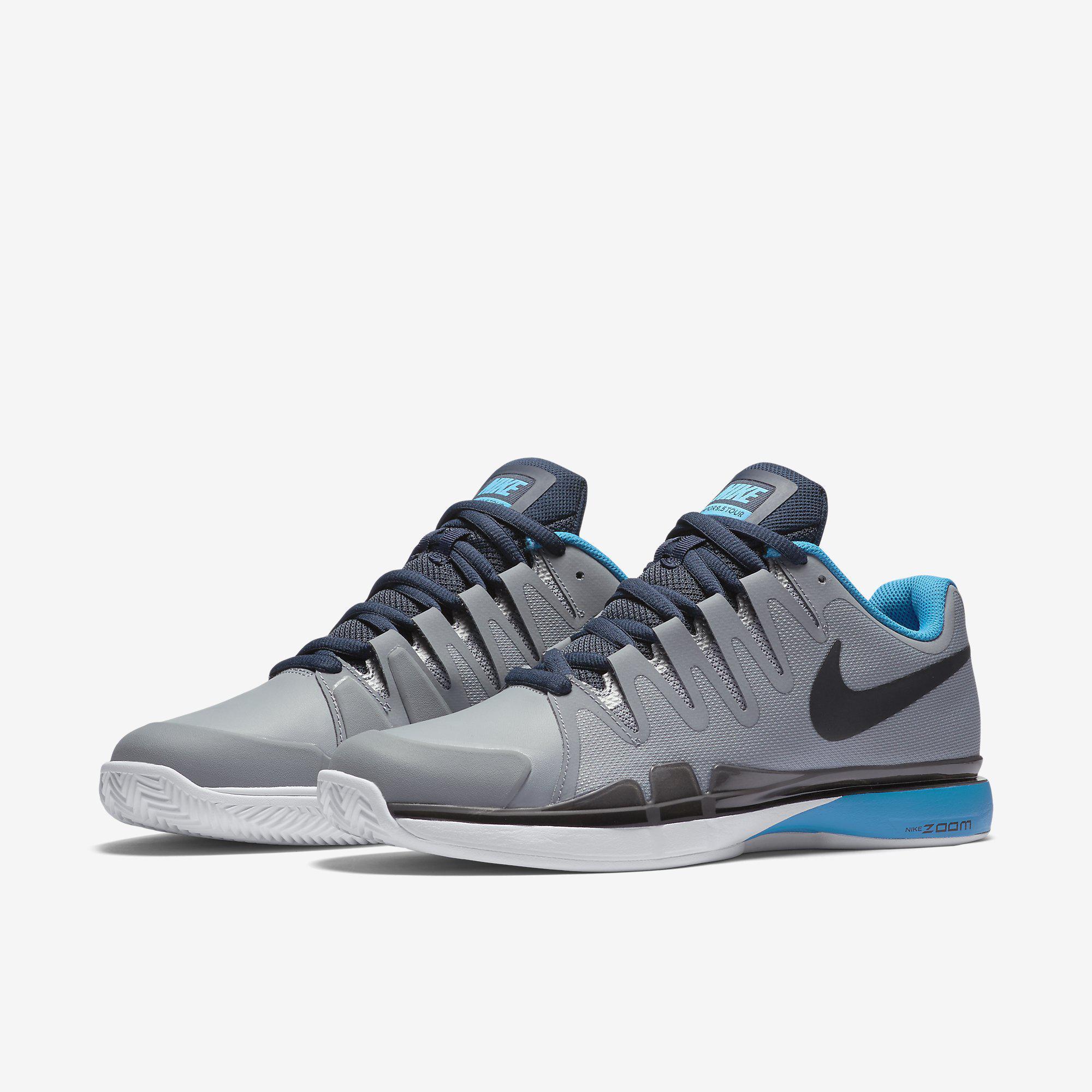 db611f4931809 Nike Mens Zoom Vapor 9.5 Tour Clay Court Tennis Shoes - Grey Blue ...