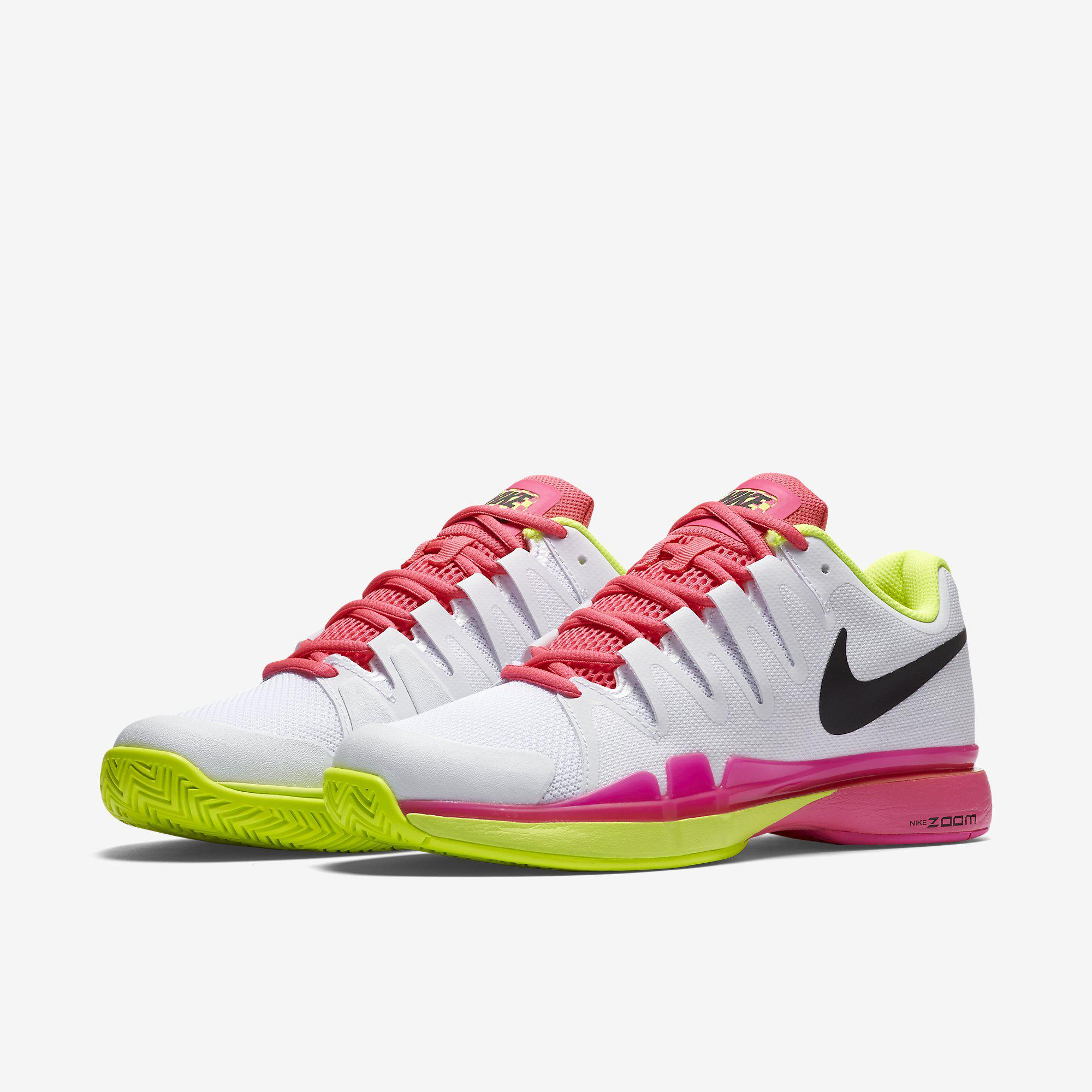 Nike Womens Zoom Vapor 9.5 Tennis Shoes - White/Volt/Pink