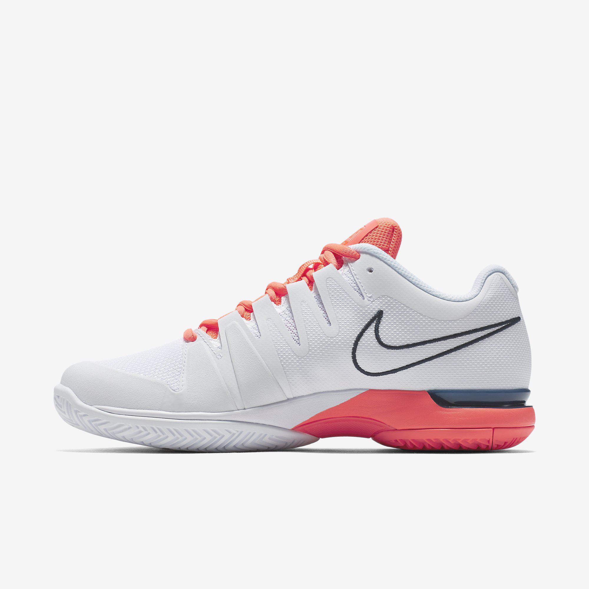 Nike Womens Zoom Vapor 9.5 Tennis Shoes - White/Navy/Bright Mango