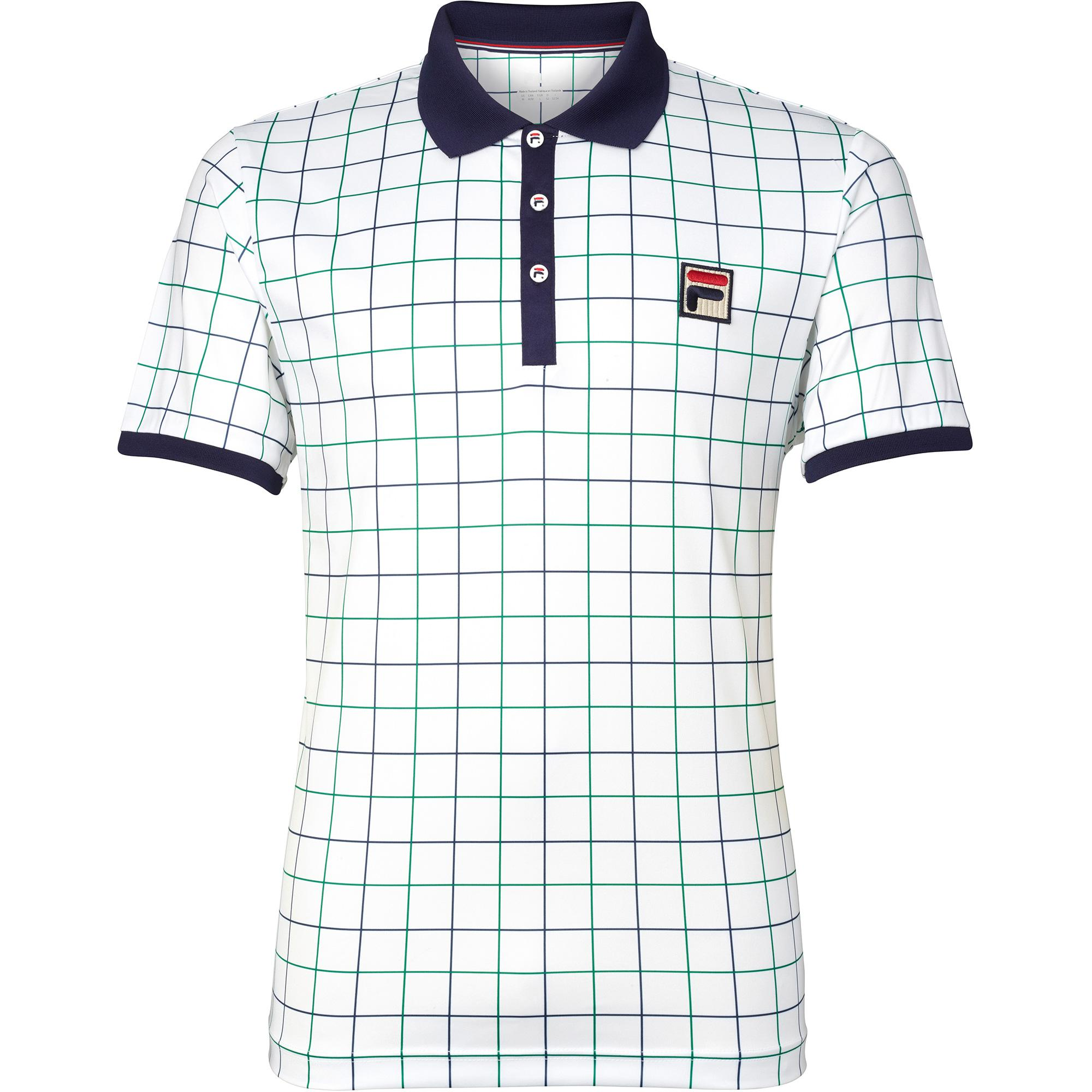Fila Mens Windowpane Polo - White/Navy