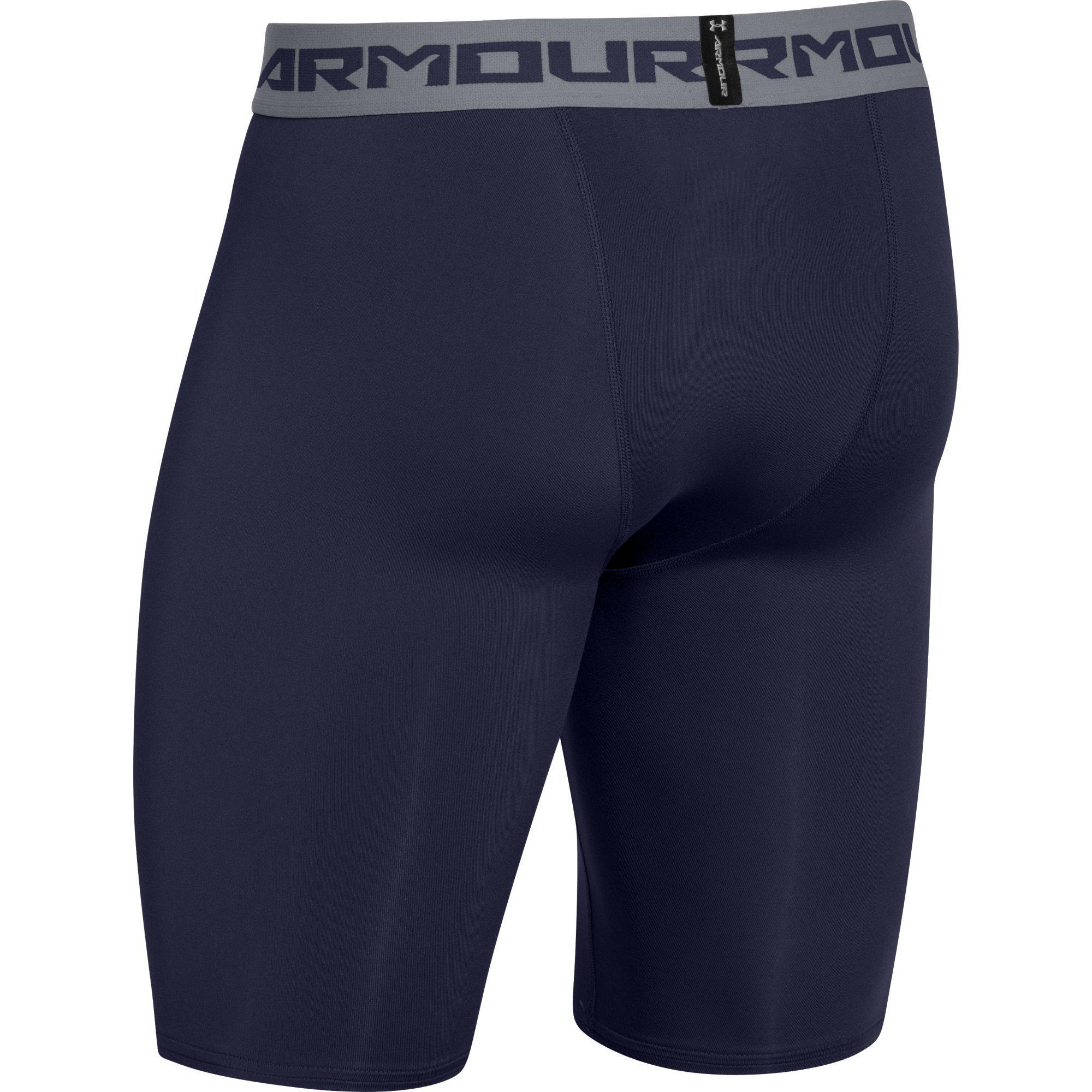 Under Armour Mens HeatGear Long Compression Short - Blue ... Compression Shorts For Men Under Armour
