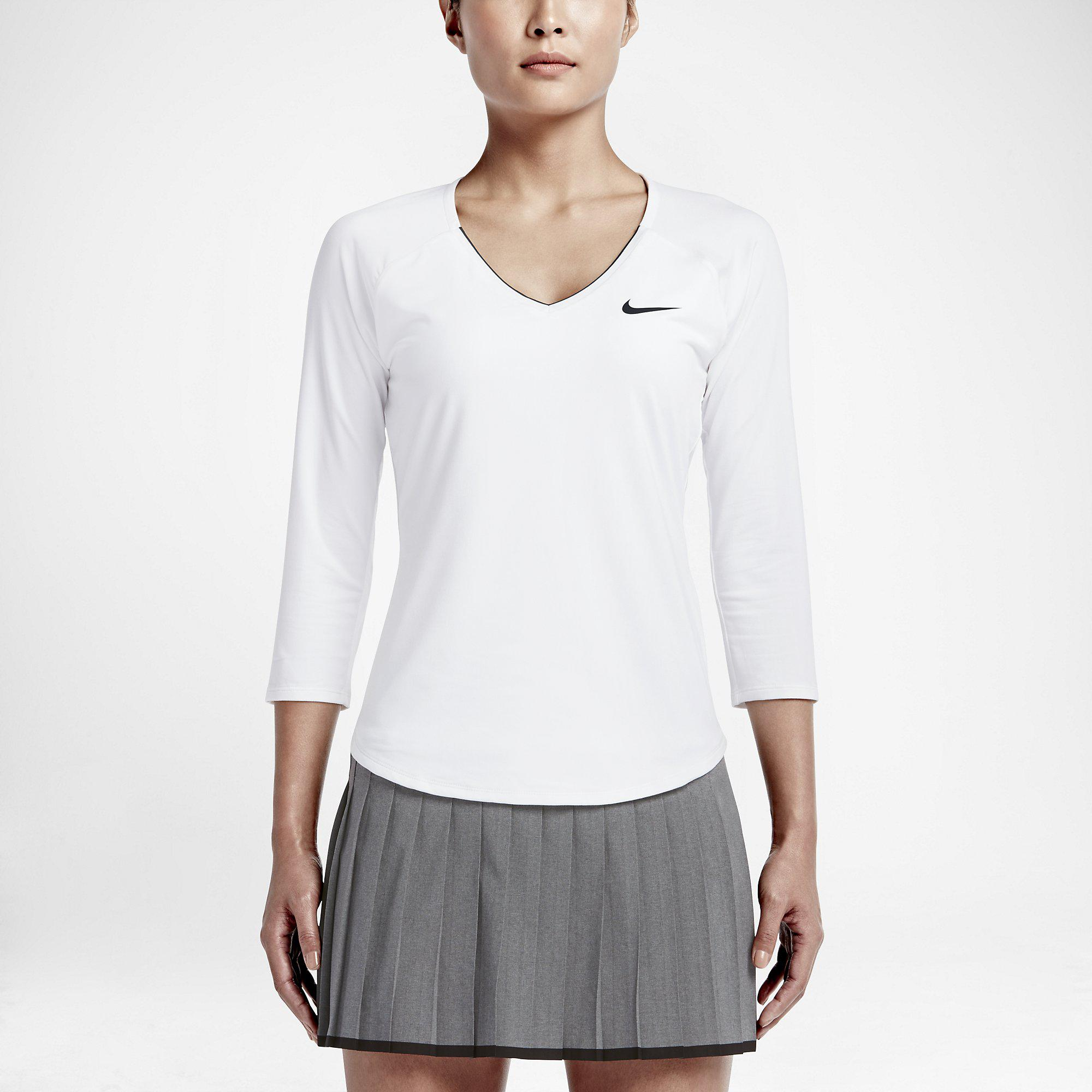 1ff7c5e23 Nike Womens Pure Long-Sleeve 'V' Top - White/Black - Tennisnuts.com