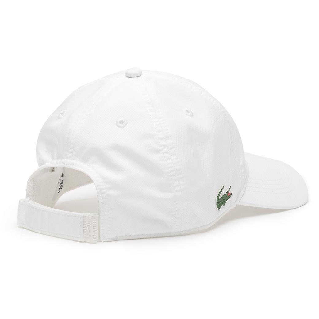 Lacoste Sport Cap in Solid Diamond Weave Taffeta - White - Tennisnuts.com 0c9444e7b427