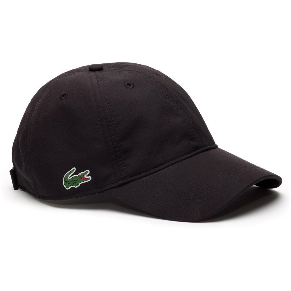 ed60e2de5e554 Lacoste Sport Cap in Solid Diamond Weave Taffeta - Black - Tennisnuts.com