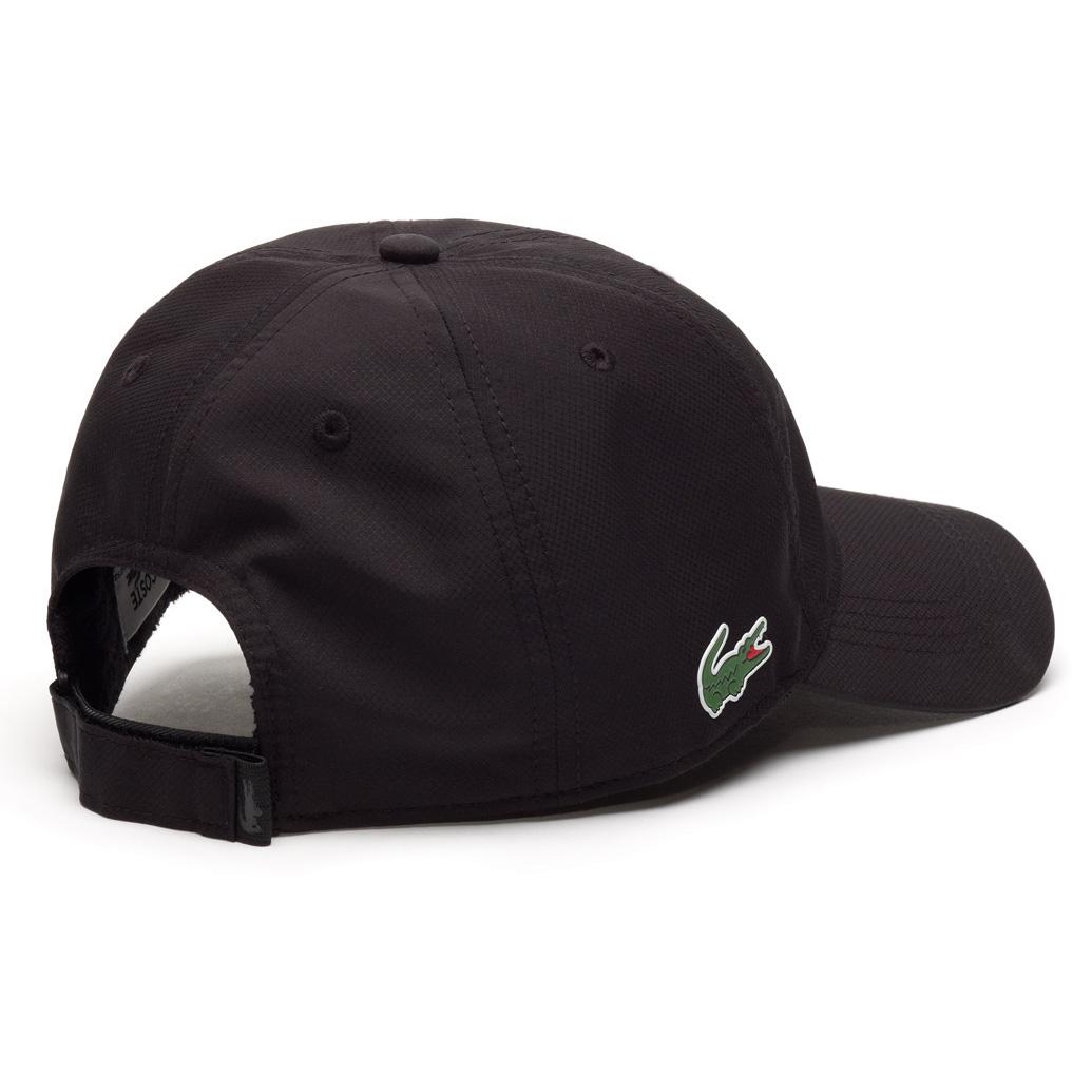 b174c42d83b Lacoste Sport Cap in Solid Diamond Weave Taffeta - Black ...