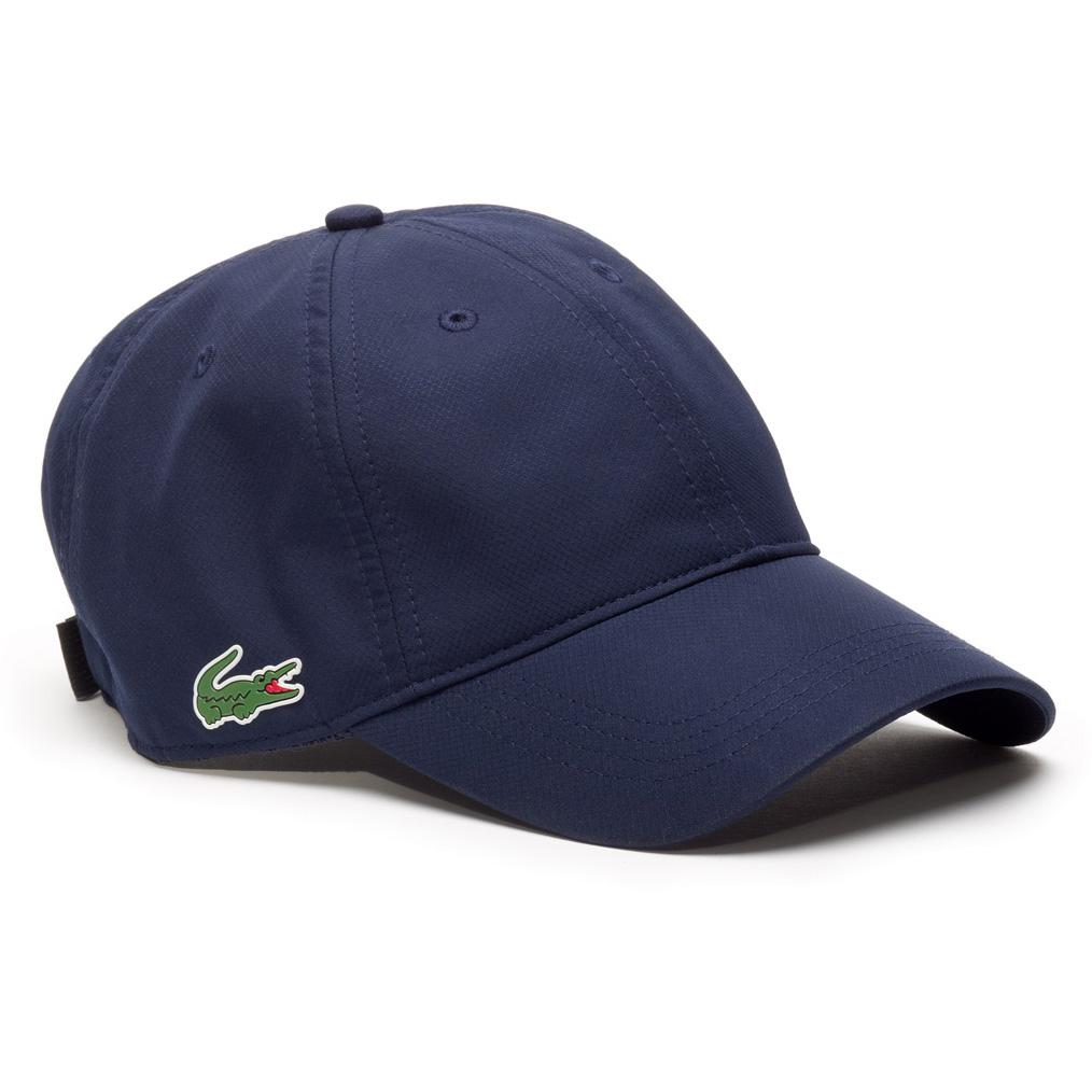 Lacoste Sport Cap in Solid Diamond Weave Taffeta - Navy Blue -  Tennisnuts.com 771c0c53229f
